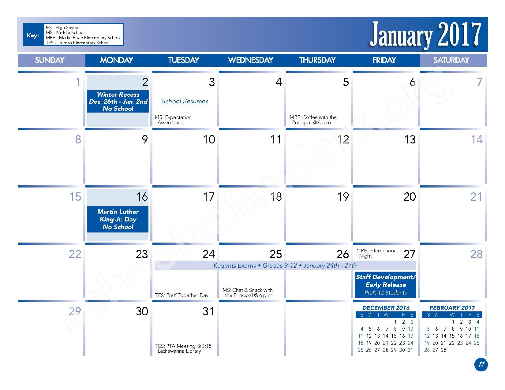 2016 - 2017 School Calendar – Lackawanna City School District – page 13