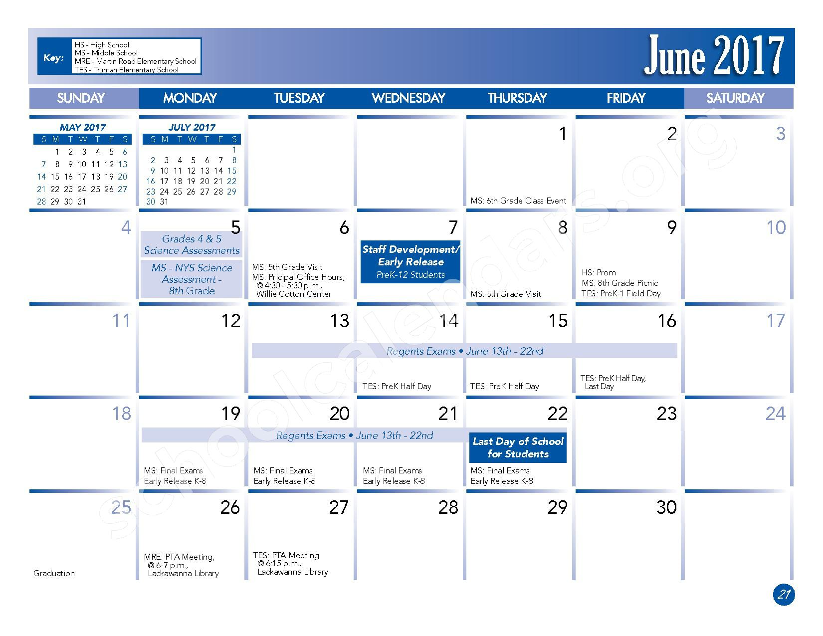 2016 - 2017 School Calendar – Lackawanna City School District – page 23
