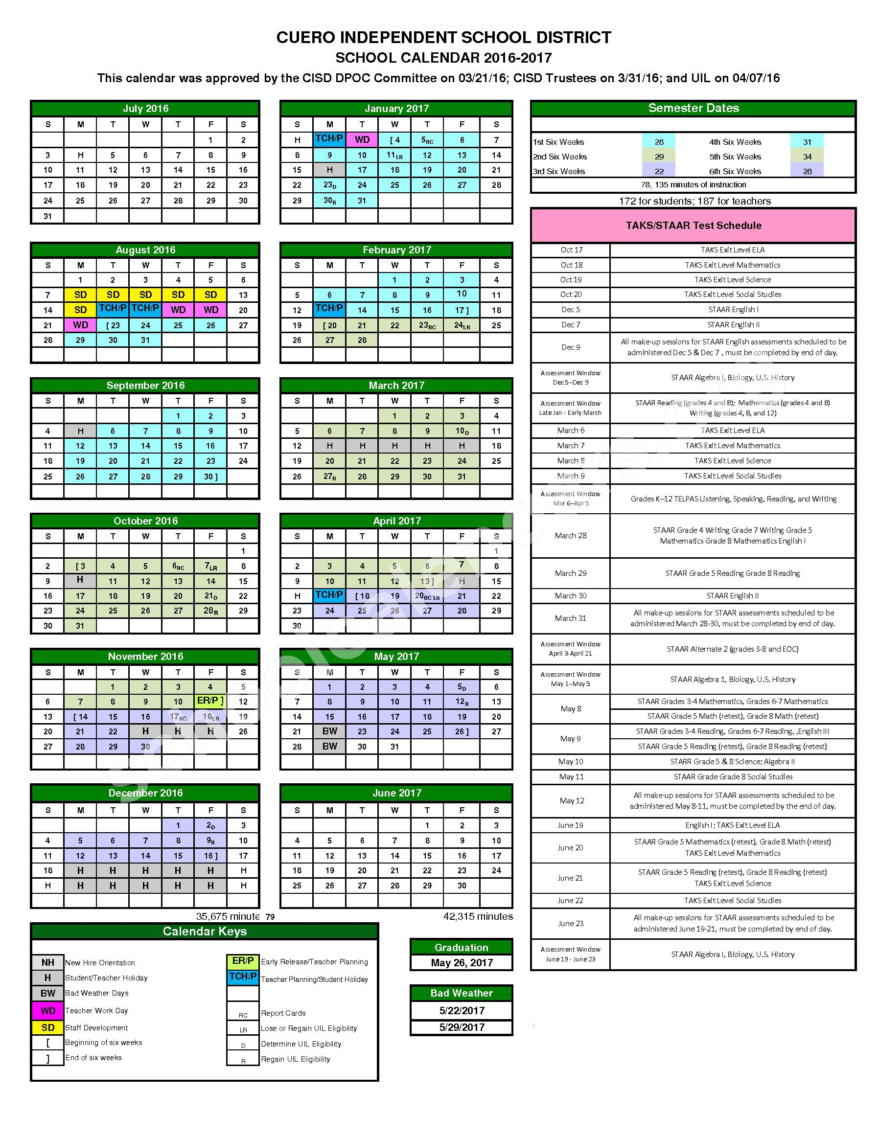 2016 - 2017 District Calendar – French Elementary School – page 1
