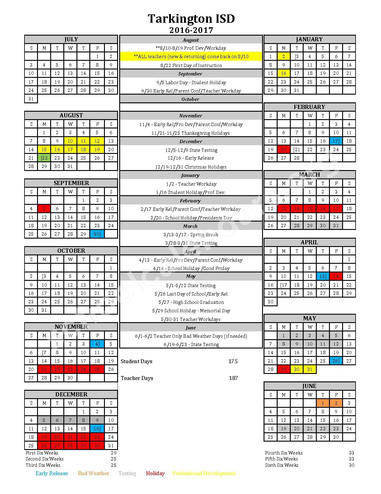 2016 - 2017 District Calendar – Tarkington Independent School District – page 1