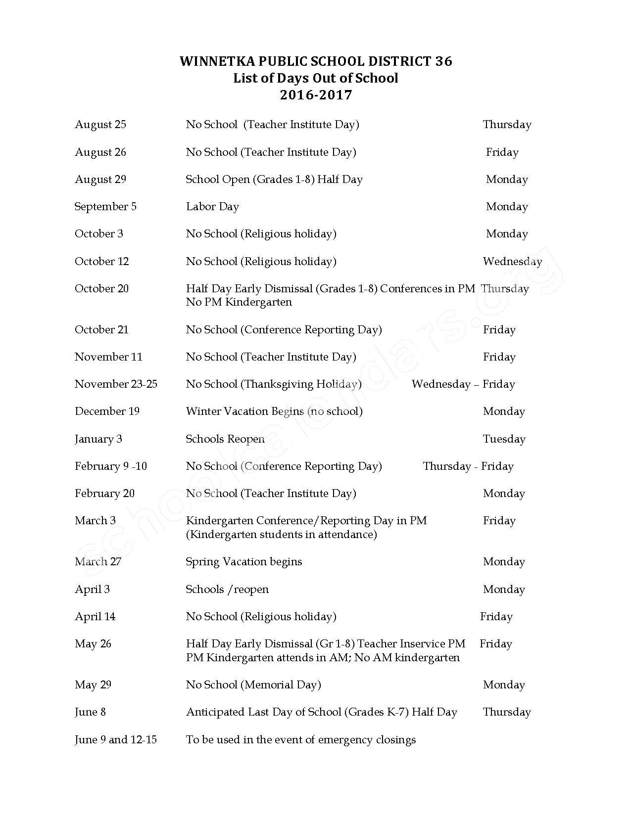 2016 - 2017 Winnetka School Calendar – Winnetka School District 36 – page 1