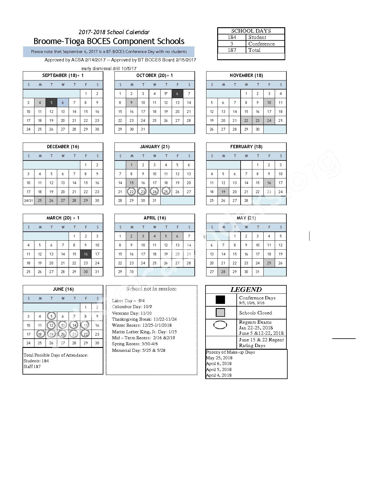 2017 - 2018 School Calendar – Windsor Central School District – page 1