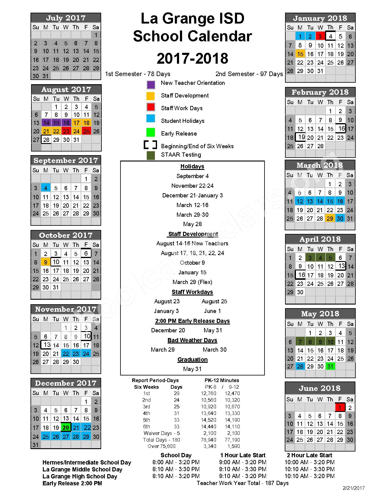2017 - 2018 District Calendar – La Grange Independent School District – page 1