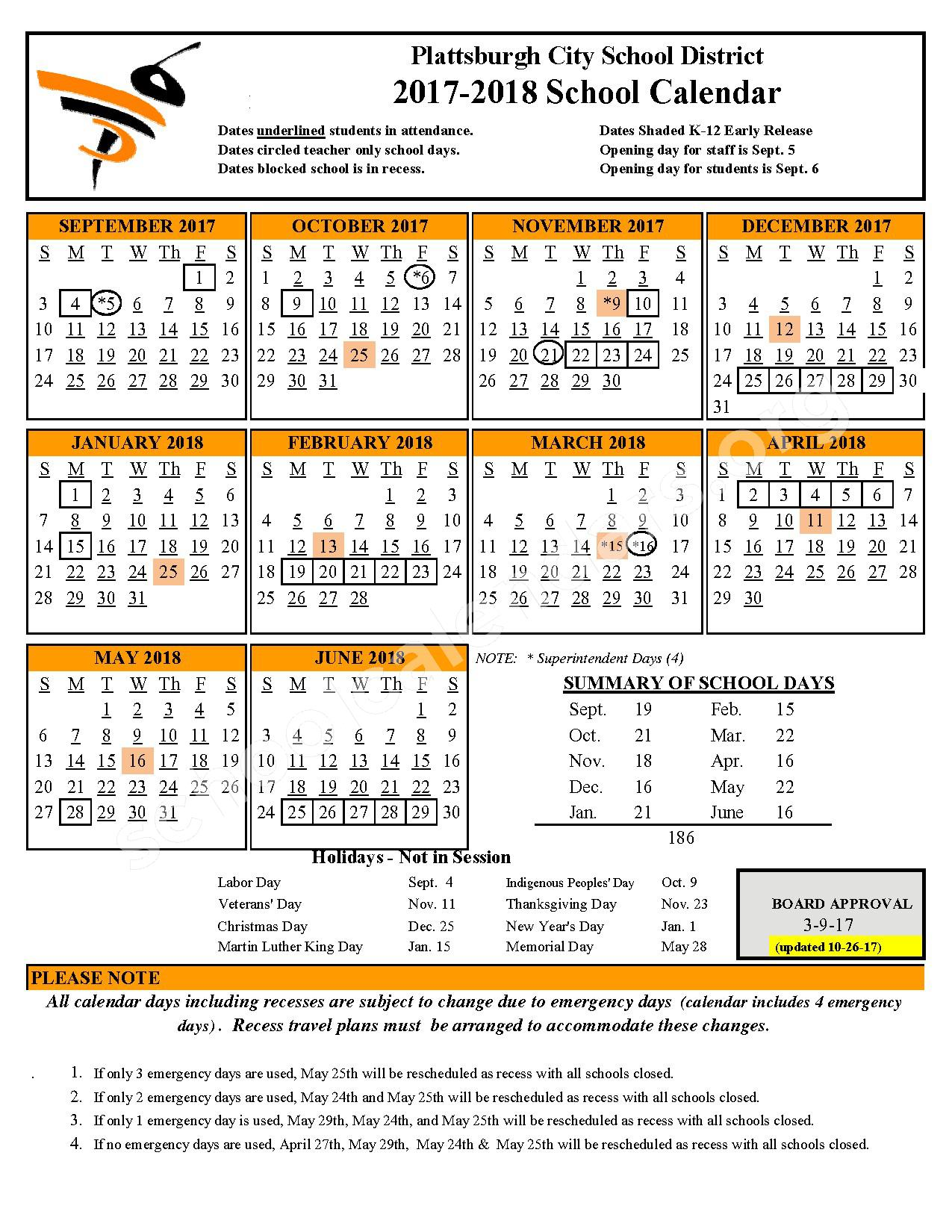 2017 - 2018 District Calendar – Plattsburgh City School District – page 1