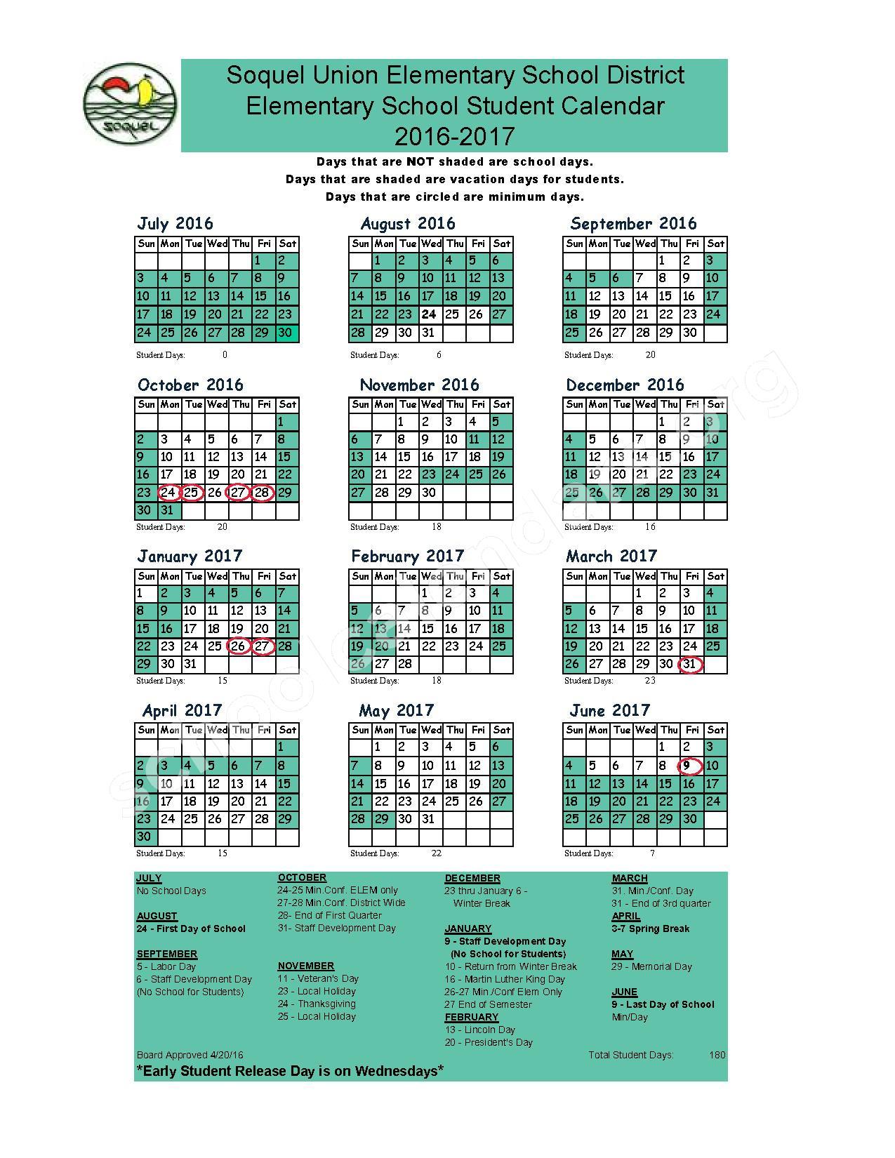 2016 - 2017 School Calendar – Soquel Union Elementary School District – page 1