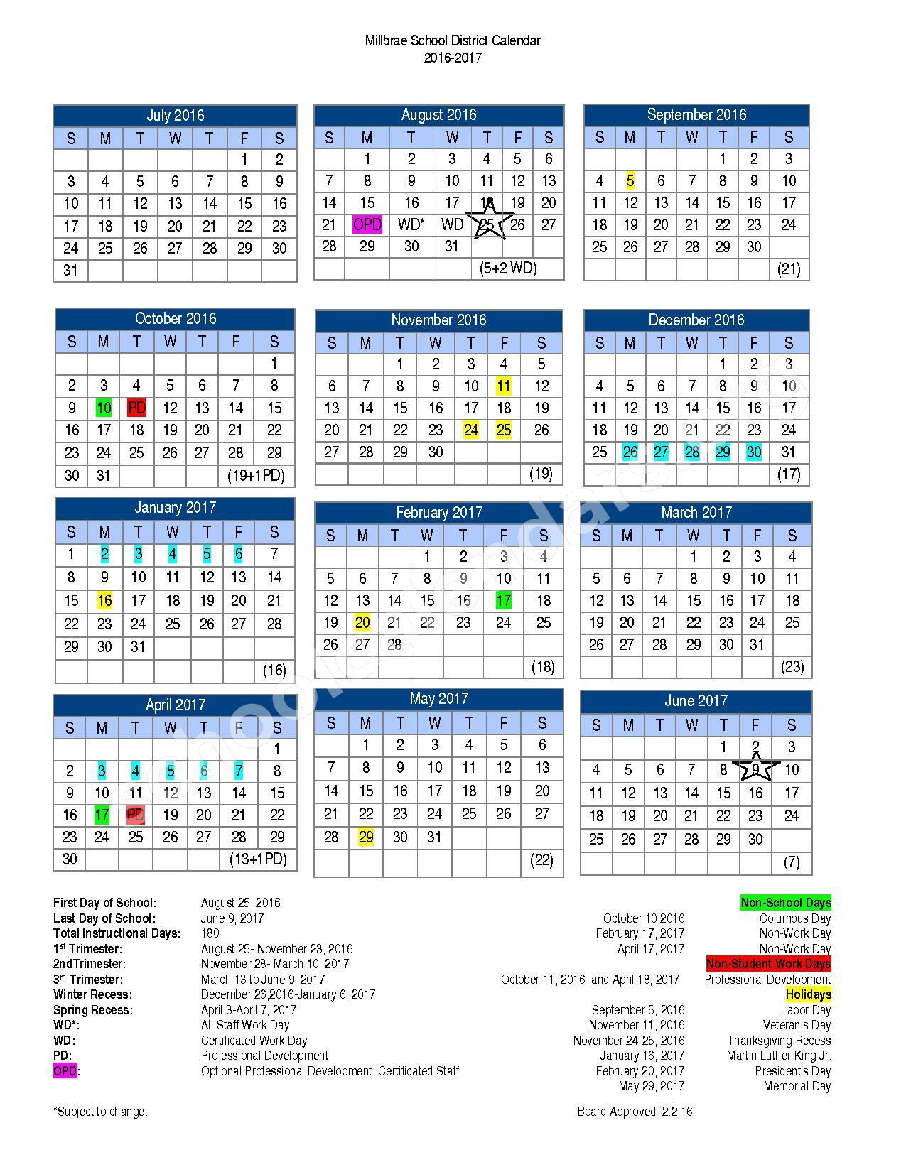 2016 - 2017 District Calendar – Millbrae School District – page 1