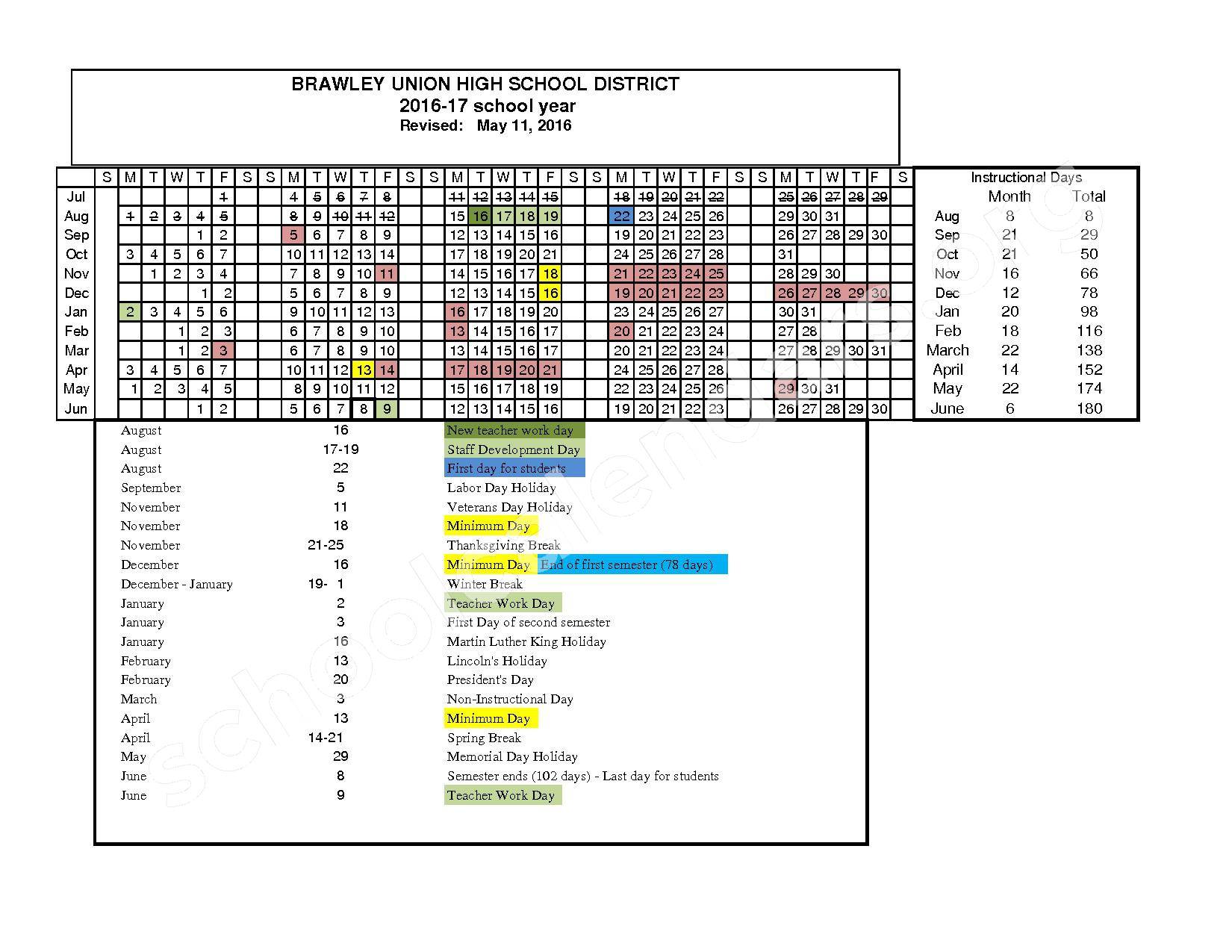 2016 - 2017 District Calendar – Brawley Union High School District – page 1