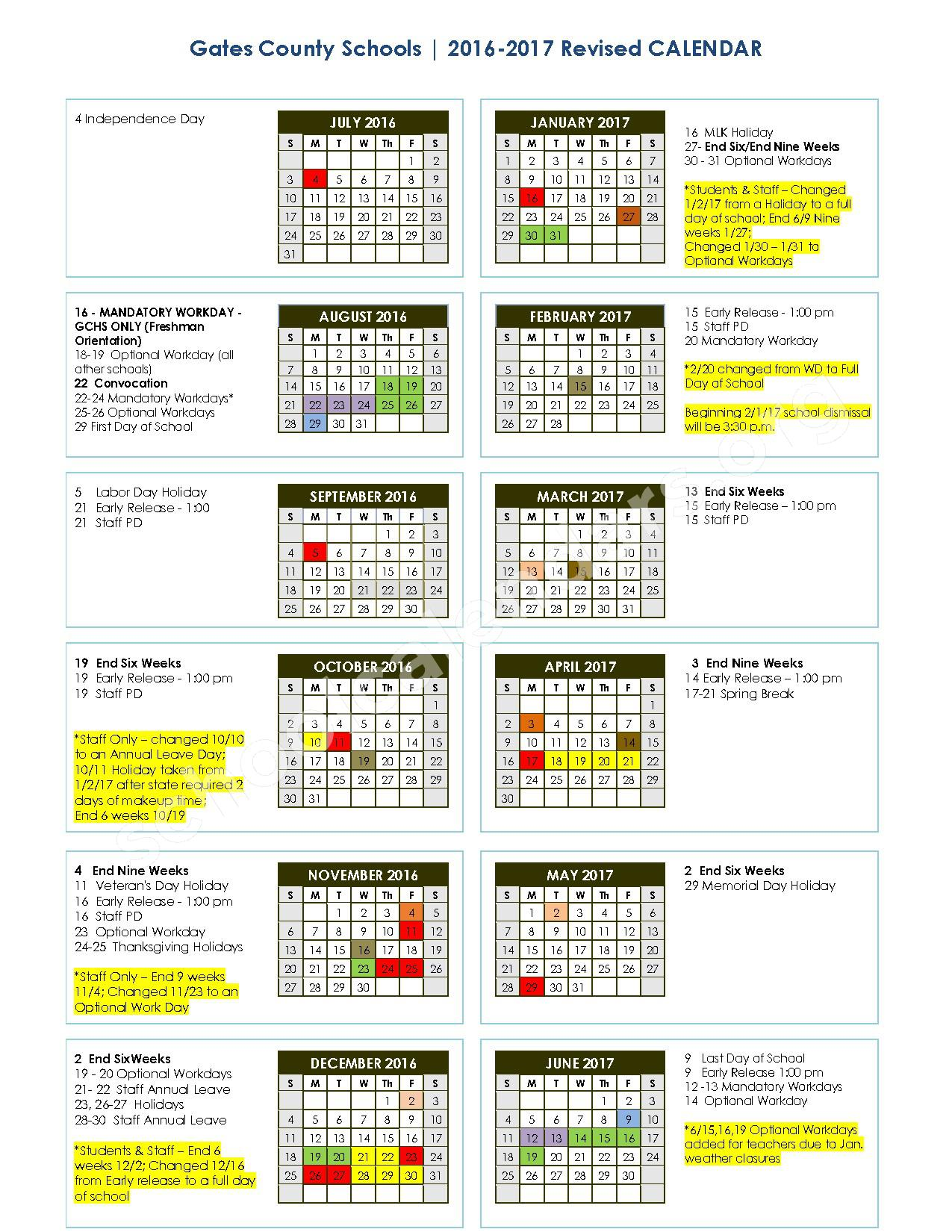 2016 - 2017 School Calendar – Buckland Elementary School – page 1