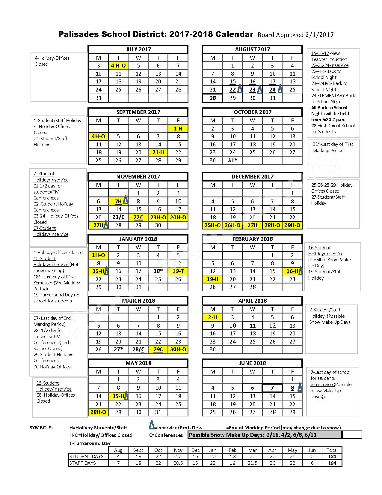 2017 - 2018 School Calendar – Palisades School District – page 1