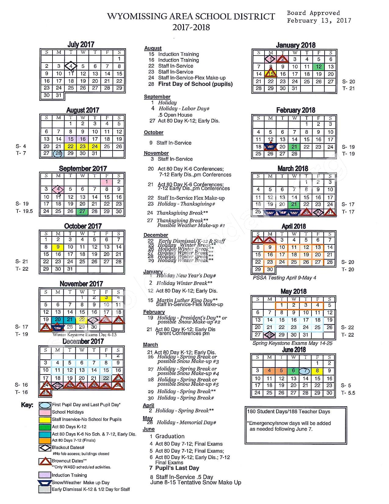 2017 - 2018 District Calendar – Wyomissing Hills Elementary Center – page 1