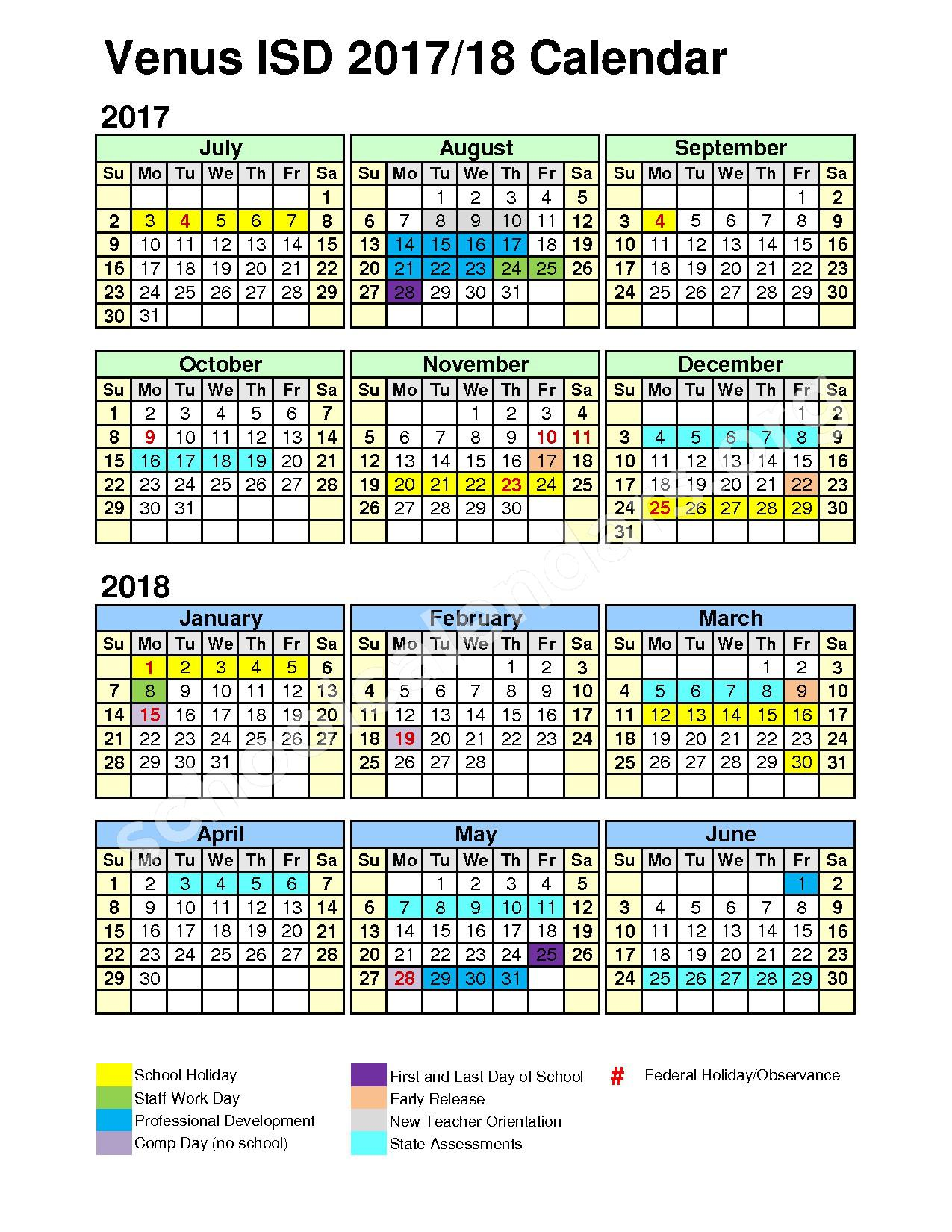 2017 - 2018 District Calendar – Venus Independent School District – page 1