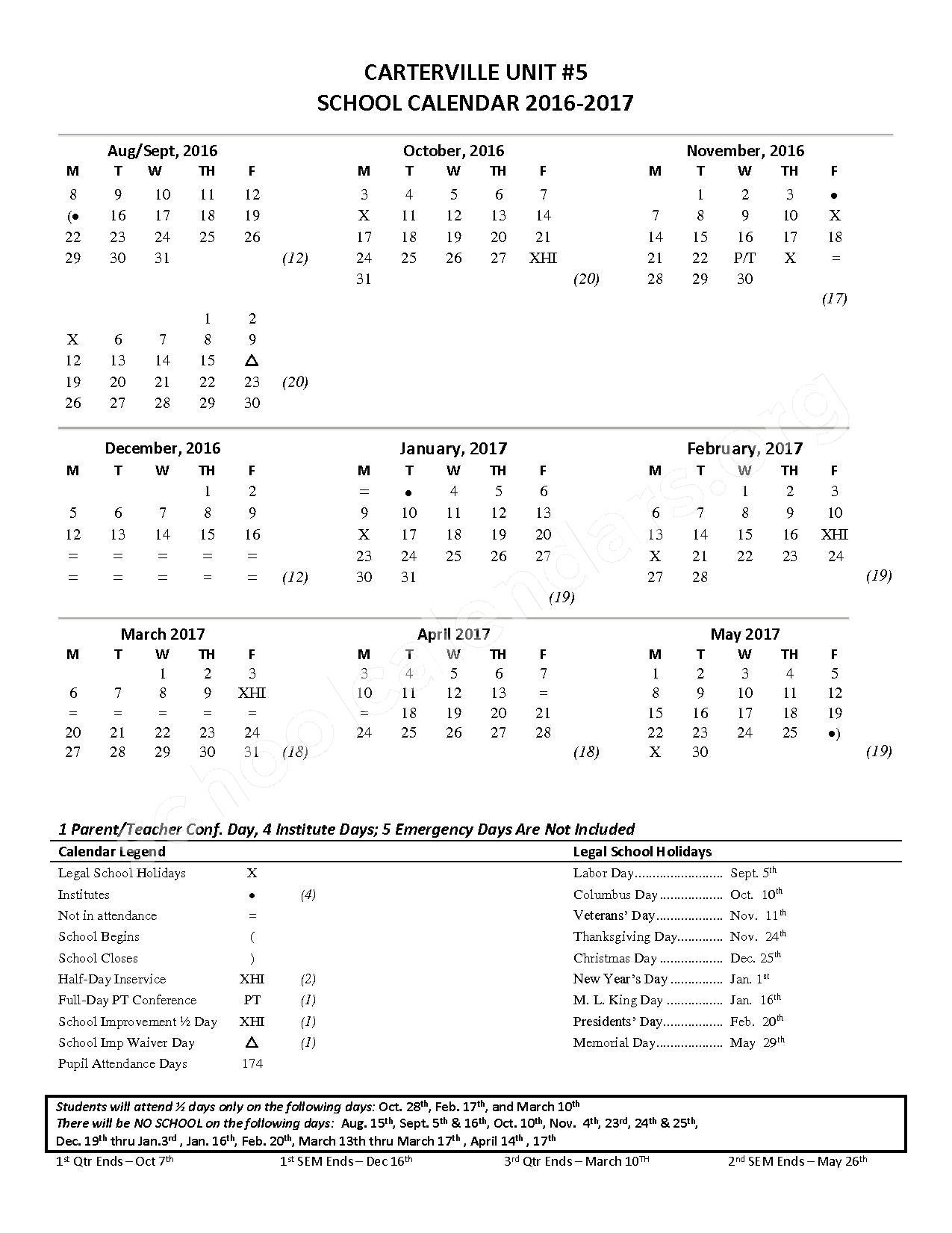 2016 - 2017 School Calendar – Tri-C Elementary K-4 Grade School – page 1