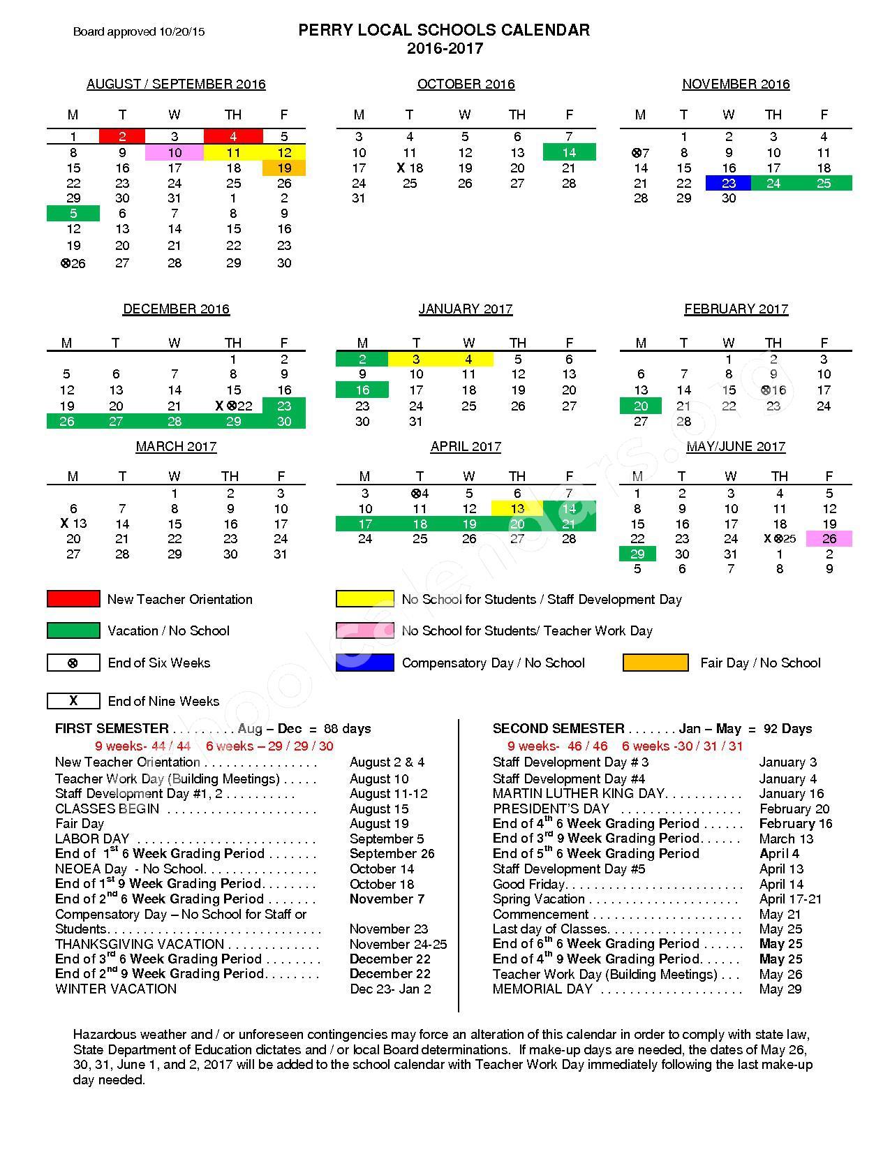 2016 - 2017 School Calendar – Perry Local Schools (Lake County) – page 1