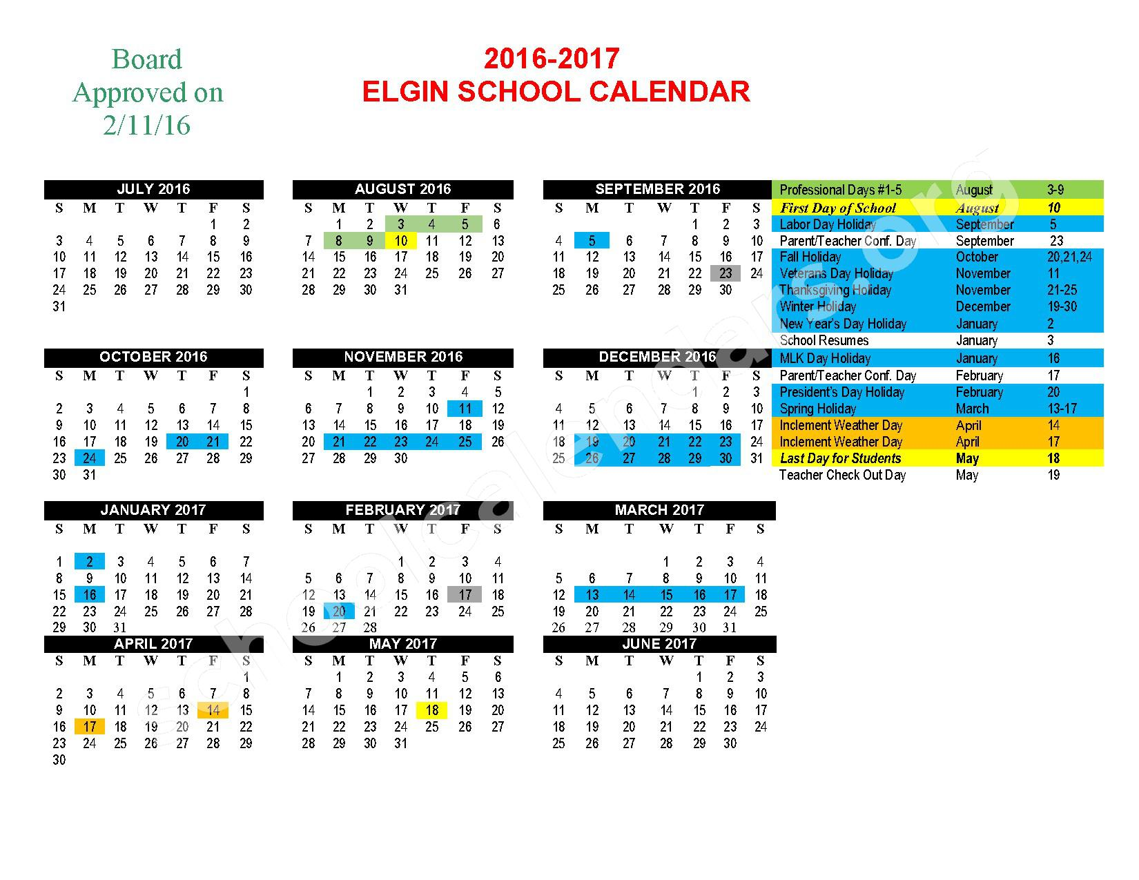 2016 - 201  District Calendar – Elgin Public Schools – page 1