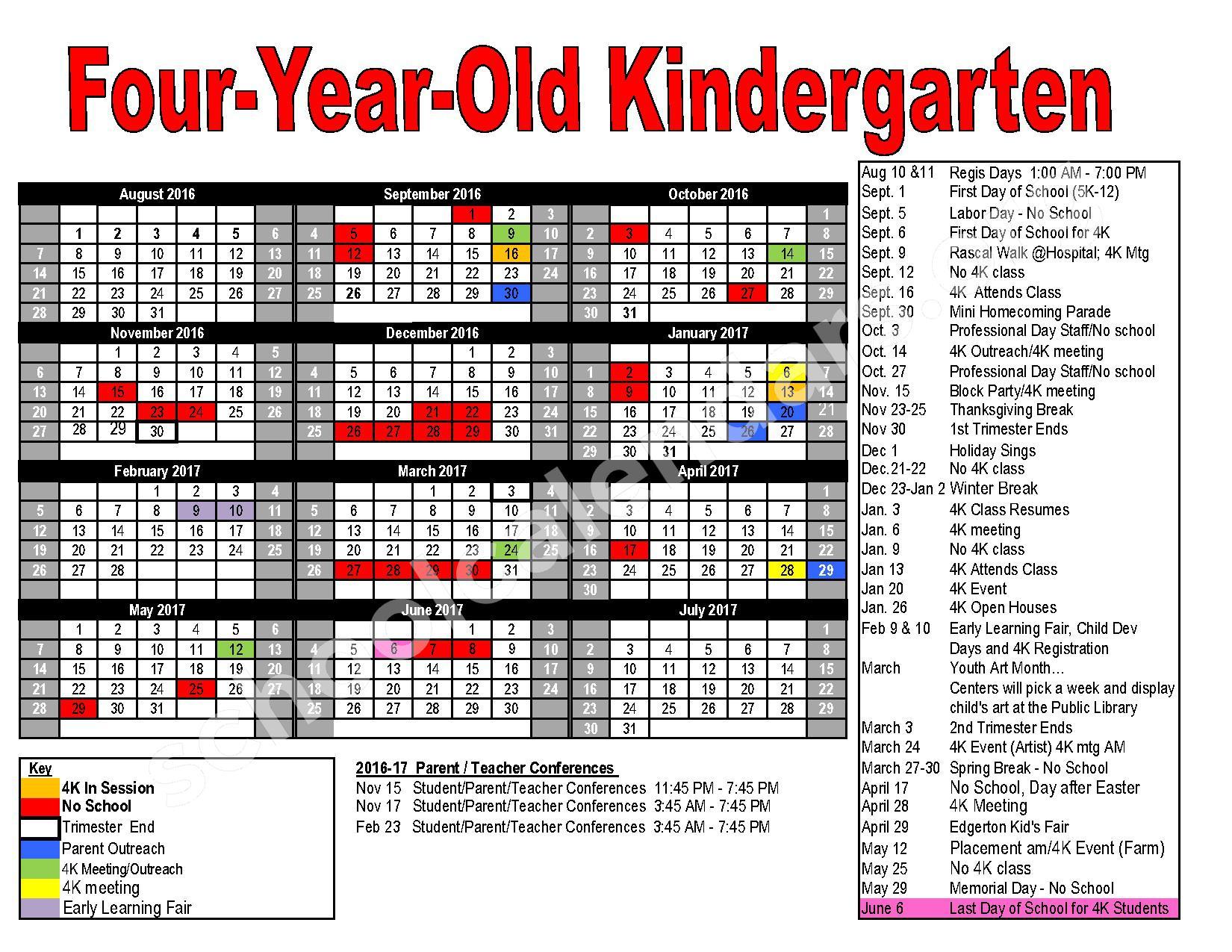2016 - 2017 Kindergarten District Calendar – Edgerton School District – page 1