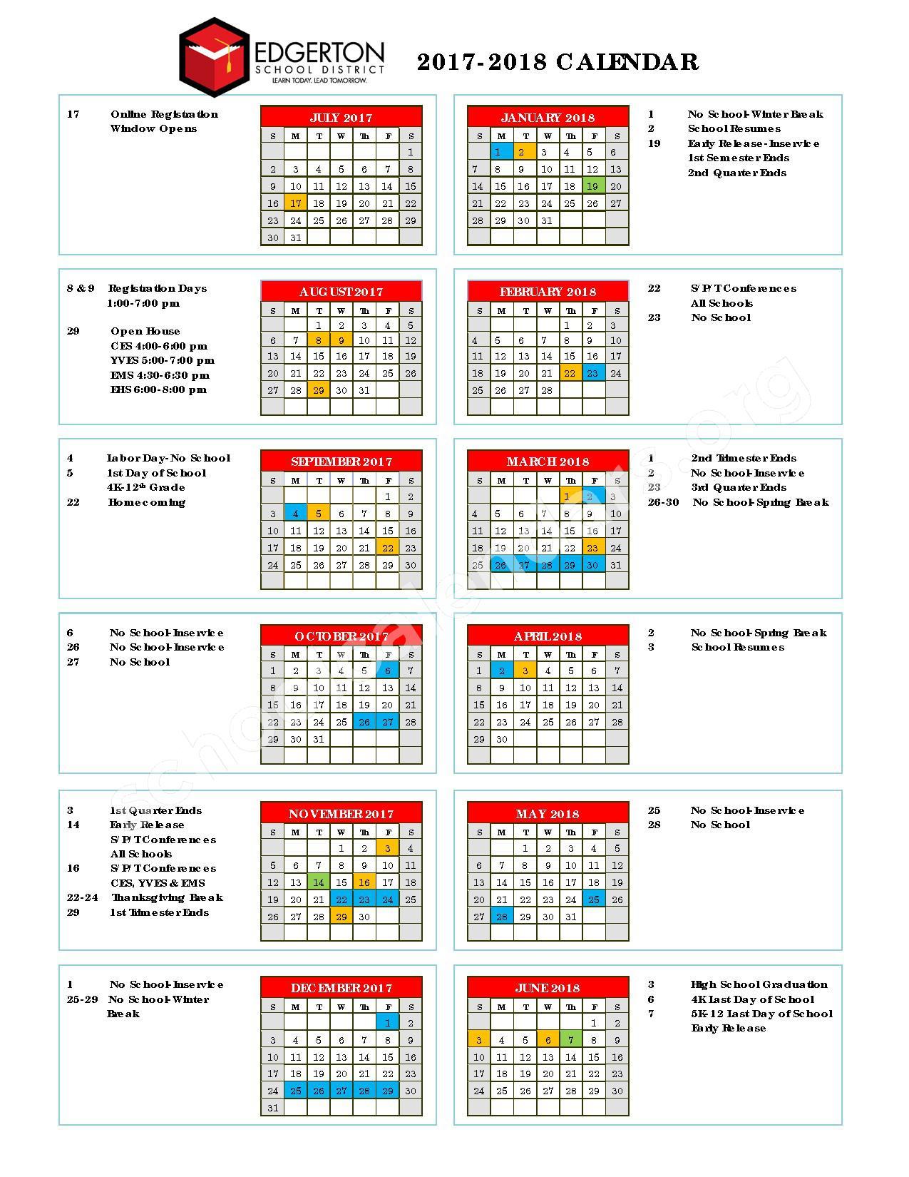2017 - 2018 District Calendar – Edgerton School District – page 1