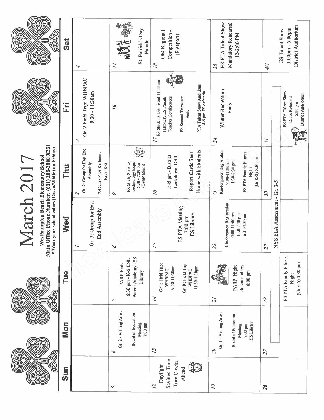 March 2017 District Calendar – Westhampton Beach Union Free School District – page 1