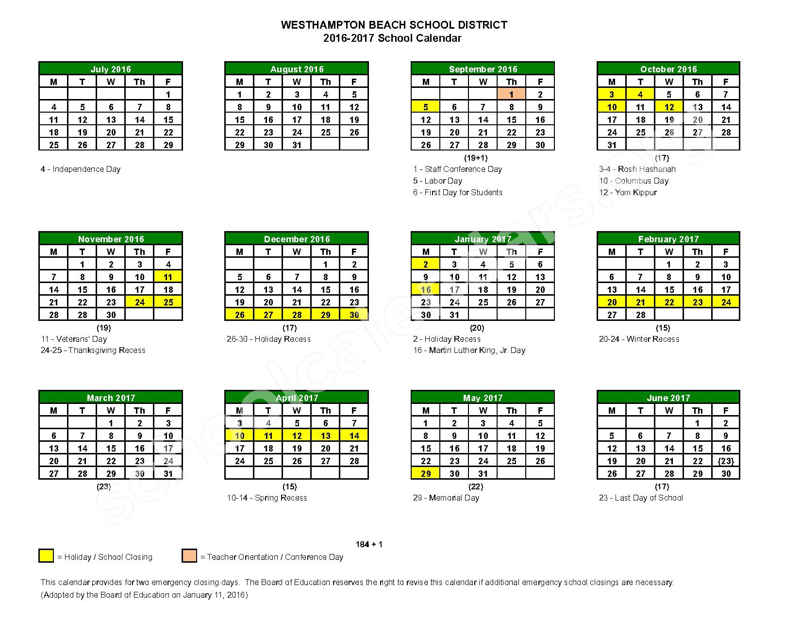 2016 - 2017 District Calendar – Westhampton Beach Union Free School District – page 1