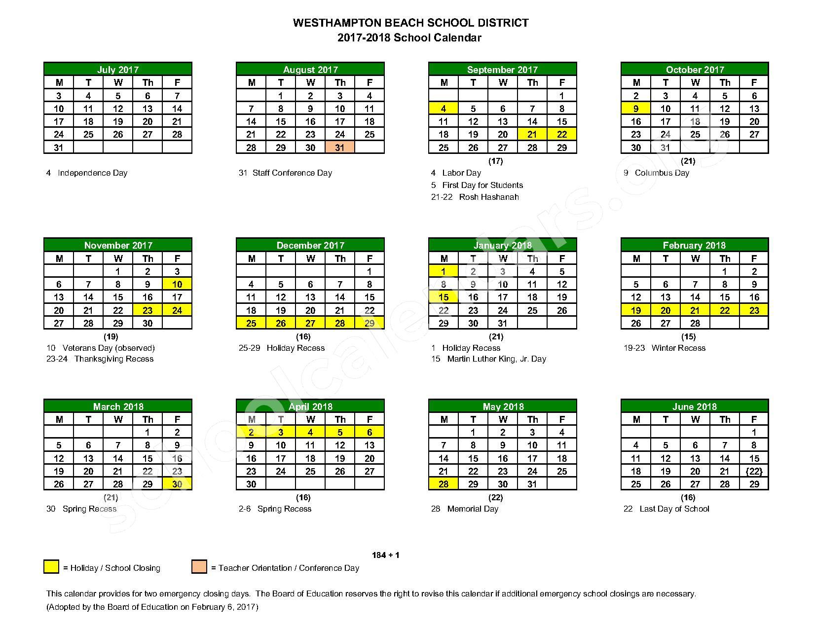2017 - 2018 District Calendar – Westhampton Beach Union Free School District – page 1