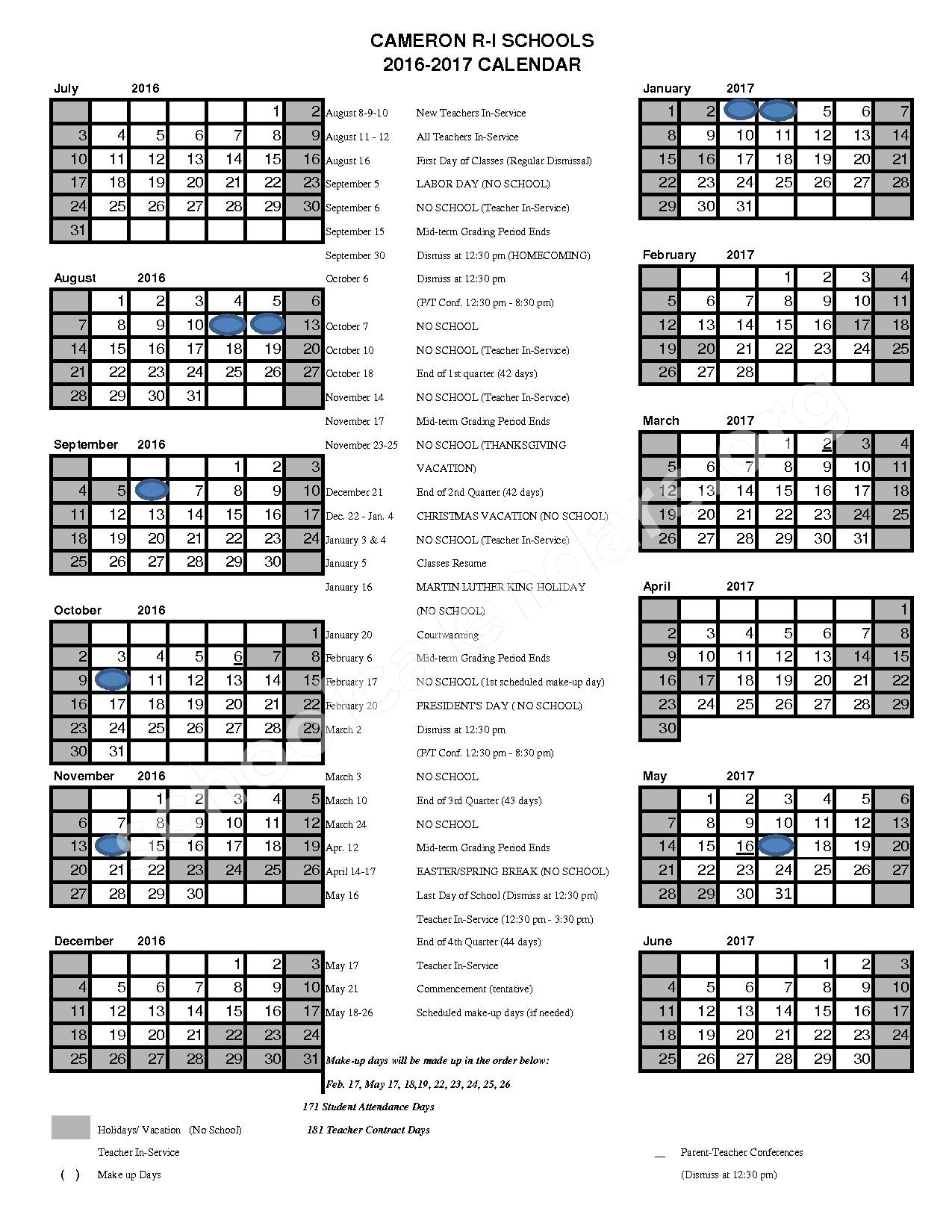 2016 - 2017 School Calendar – Cameron R-I School District – page 1