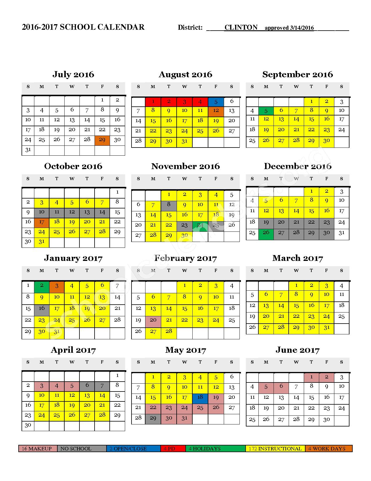 2016 - 2017 District Calendar – Clinton County School District – page 1