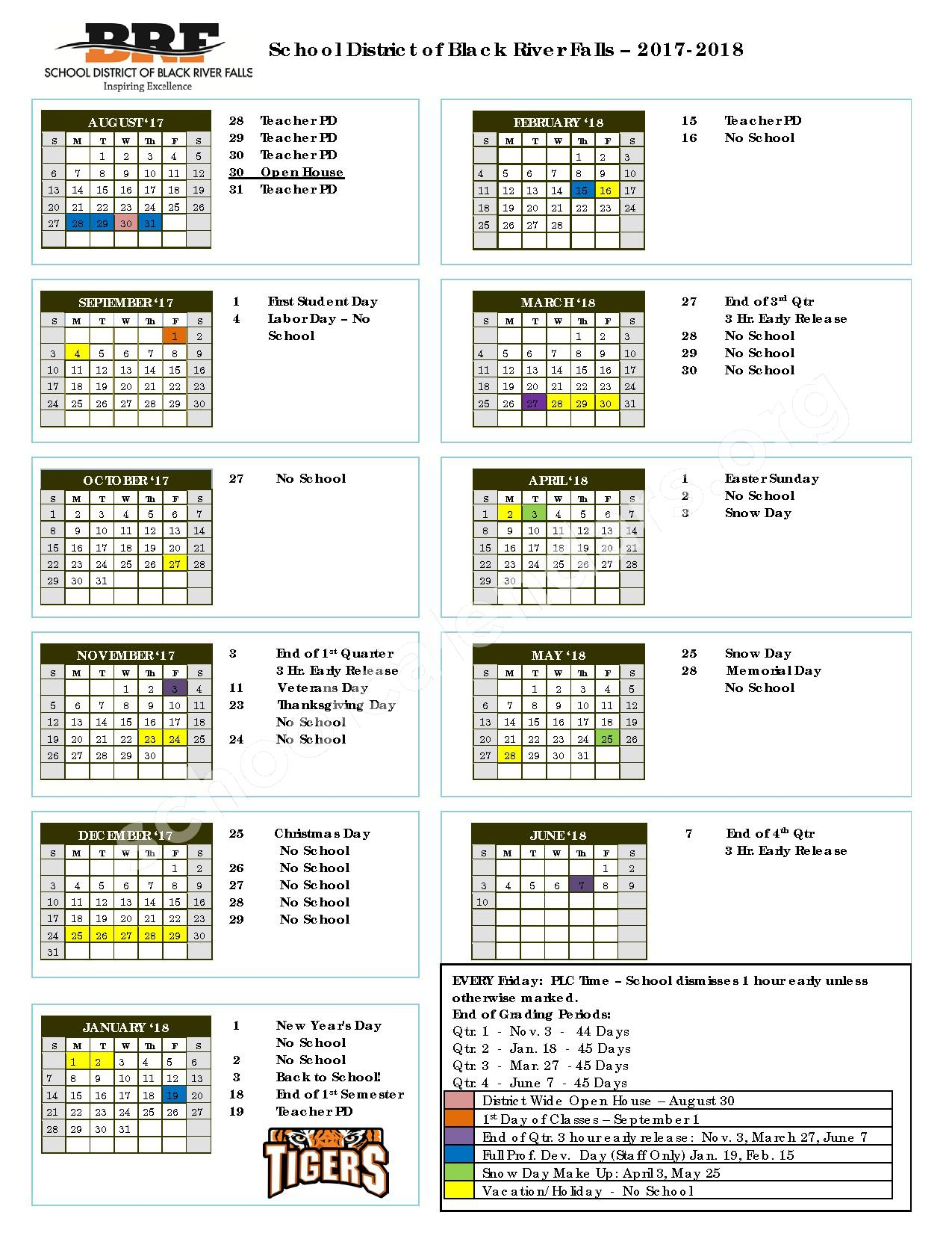 2017 - 2018 School Calendar – Black River Falls School District – page 1
