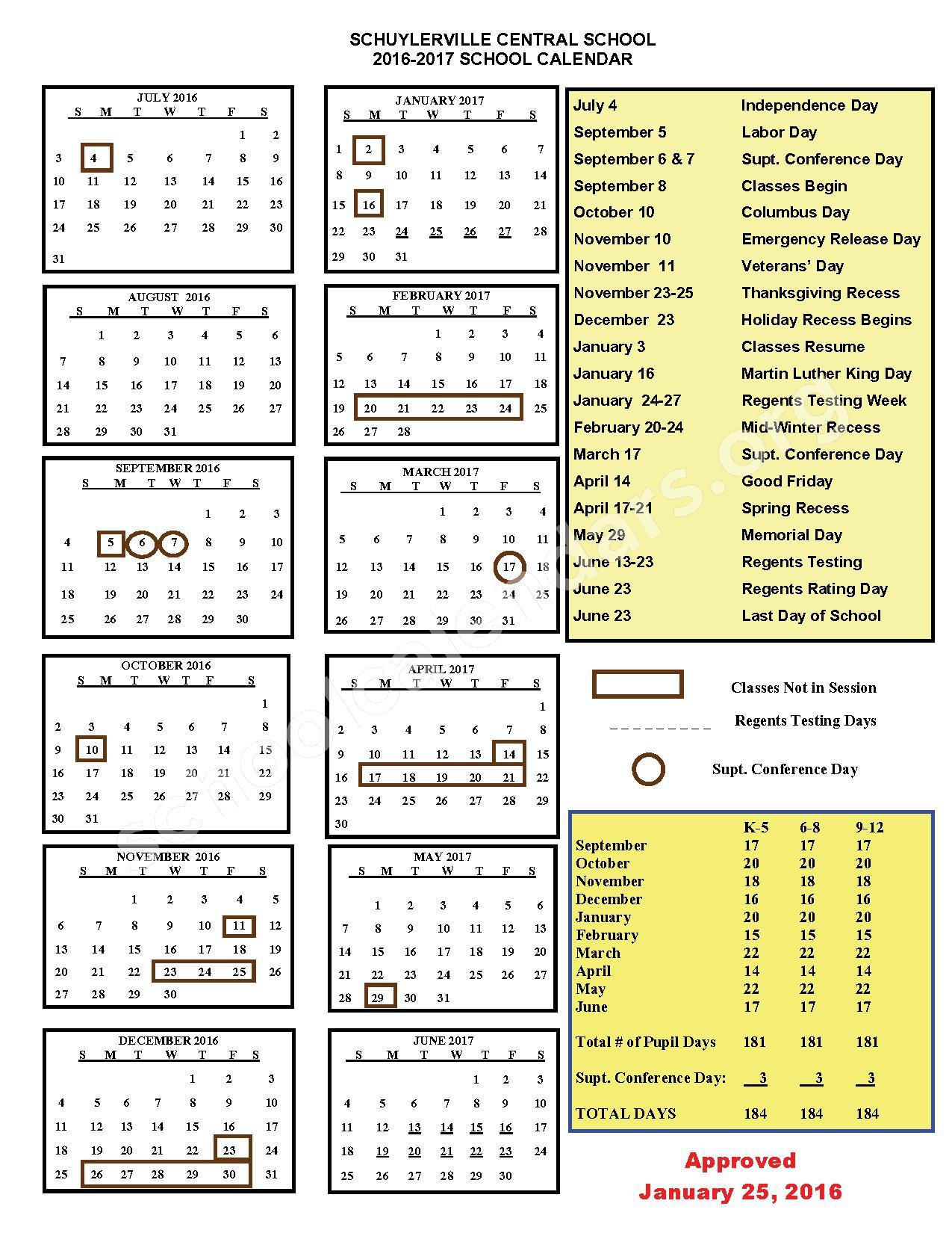 2016 - 2017  District Calendar – Schuylerville Elementary School – page 1