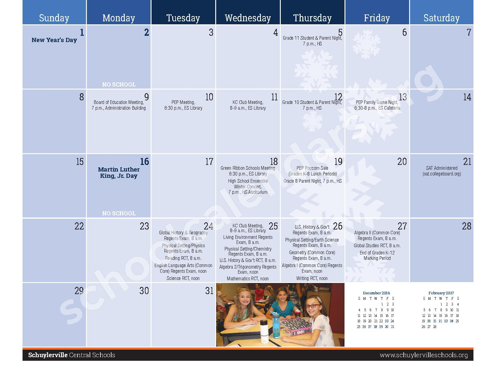 2016 - 2017  District Calendar – Schuylerville Central School District – page 11