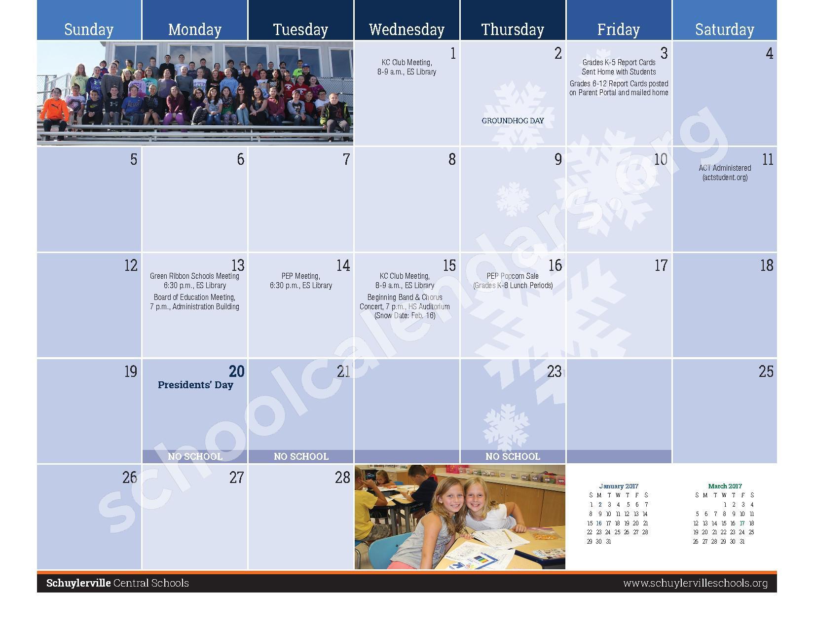 2016 - 2017  District Calendar – Schuylerville Central School District – page 13
