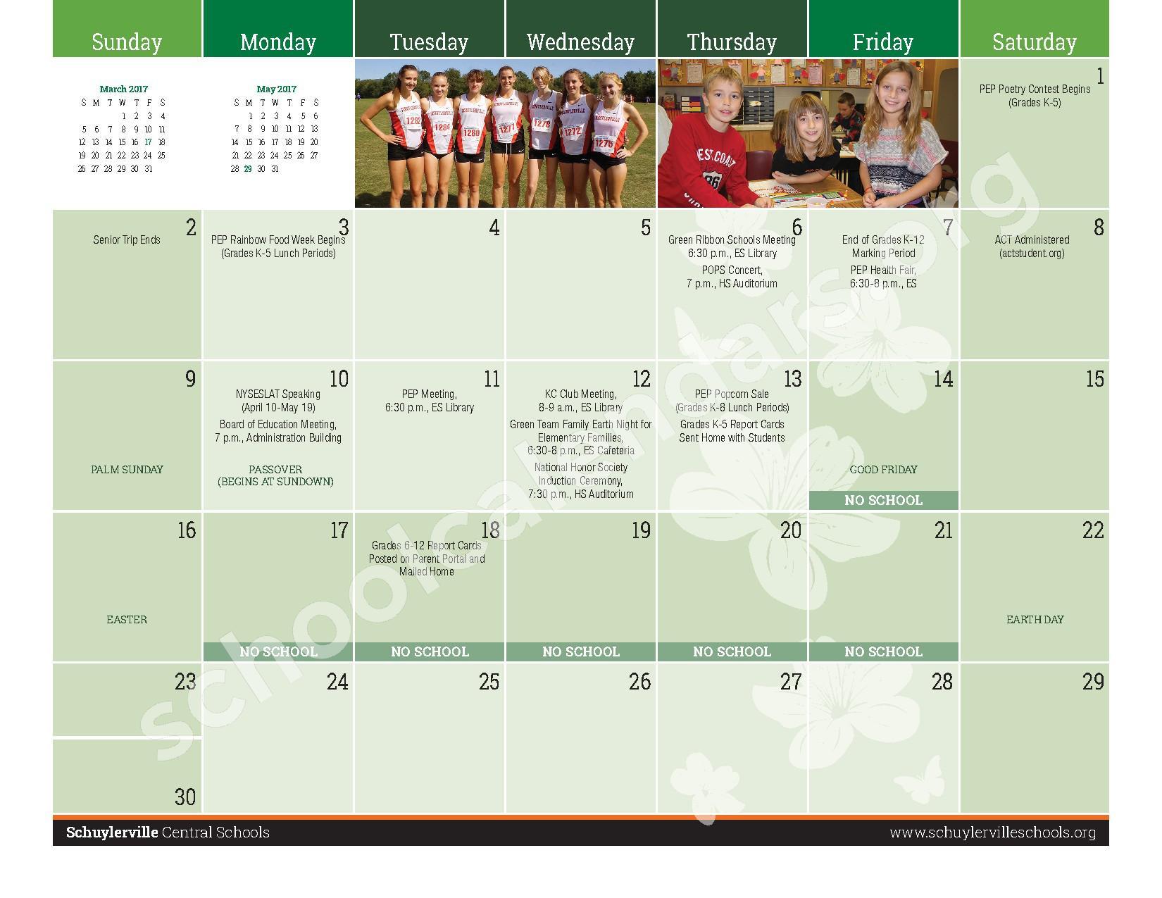 2016 - 2017  District Calendar – Schuylerville Central School District – page 17