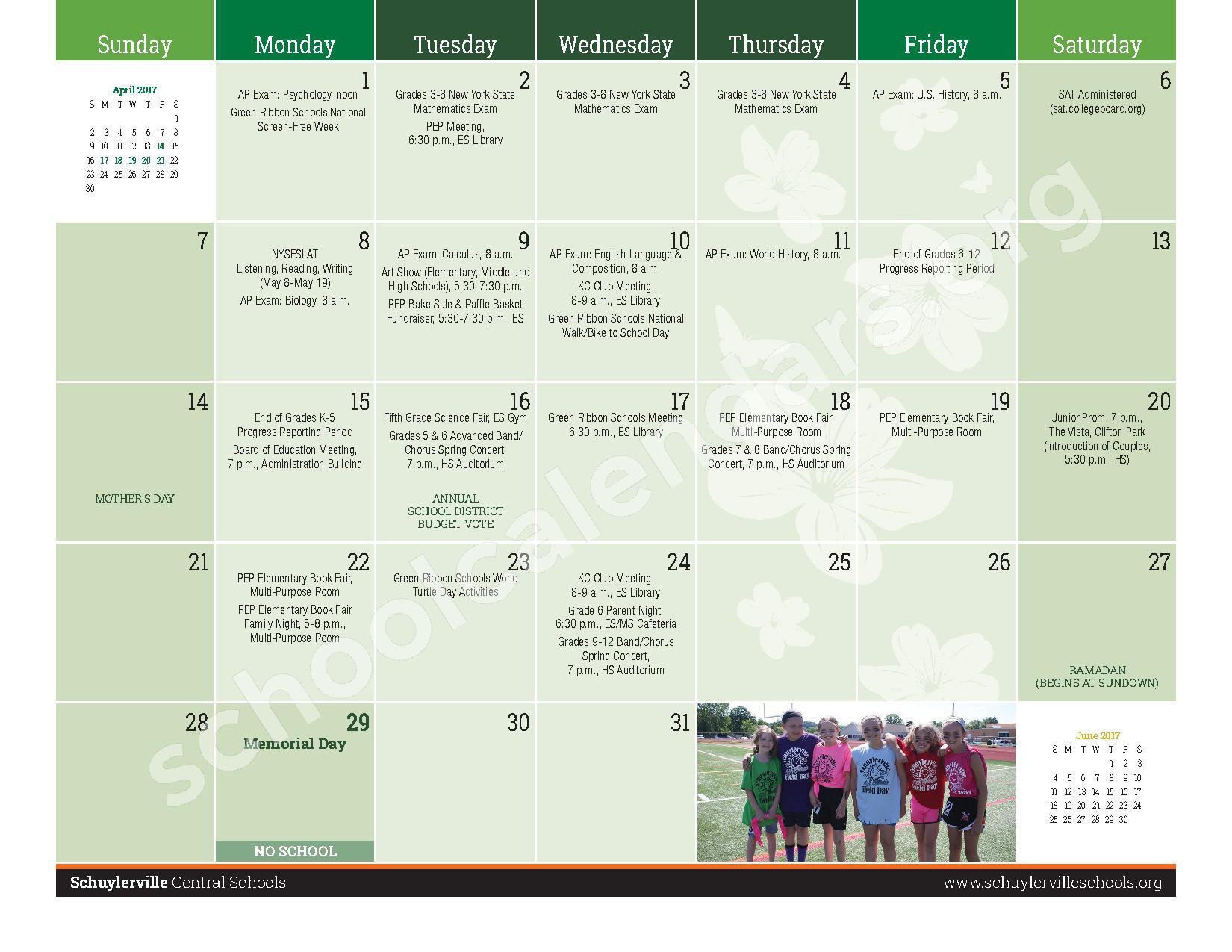 2016 - 2017  District Calendar – Schuylerville Central School District – page 19