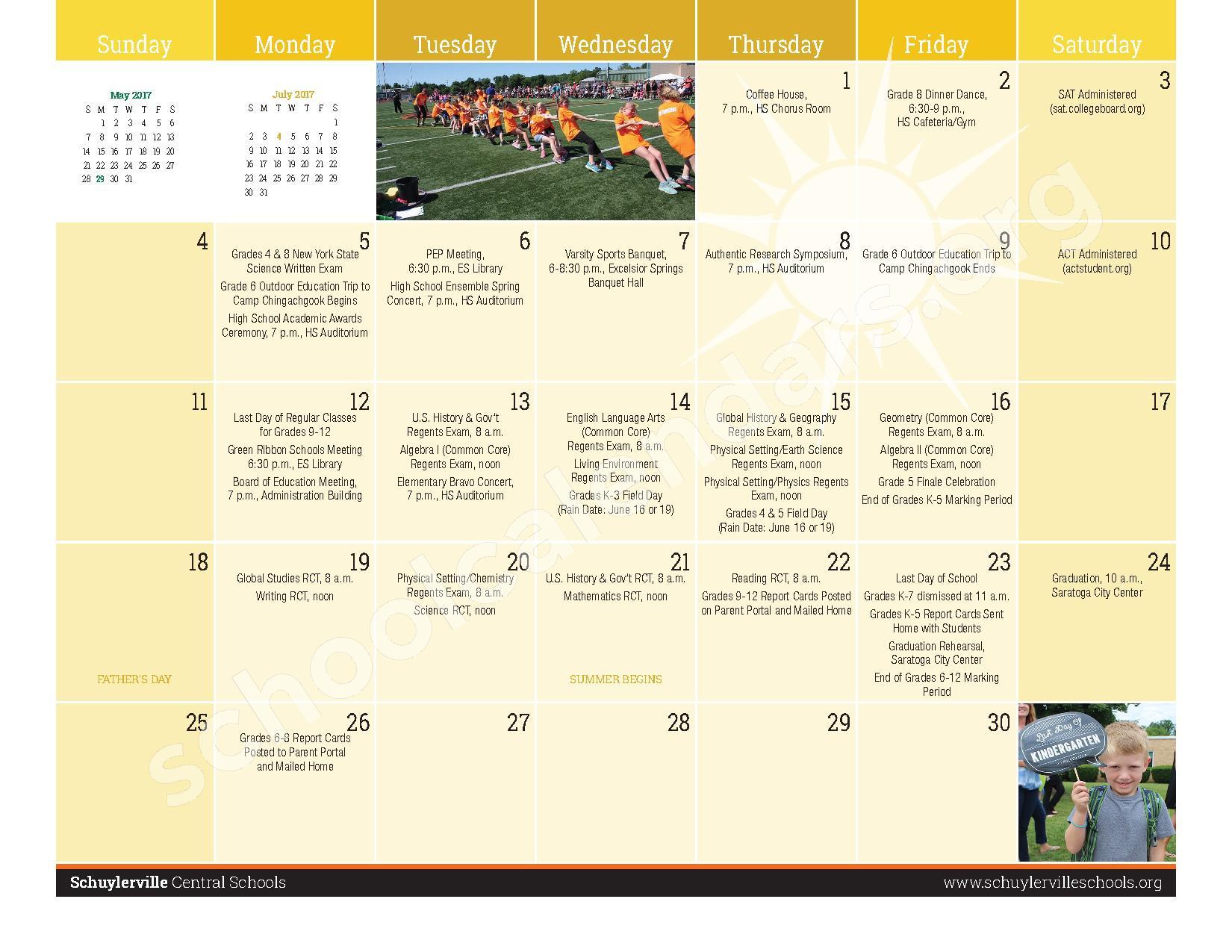 2016 - 2017  District Calendar – Schuylerville Central School District – page 21