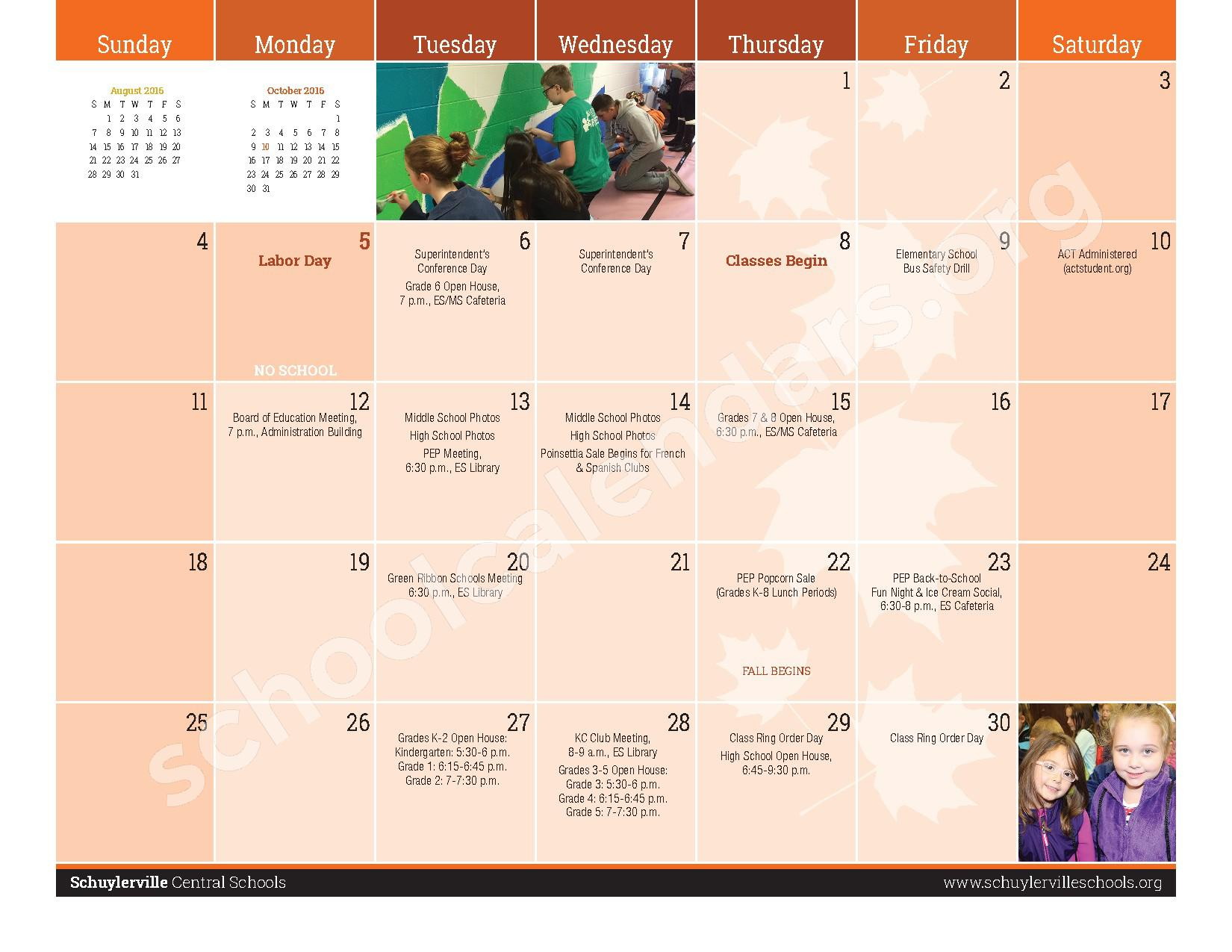 2016 - 2017  District Calendar – Schuylerville Central School District – page 3