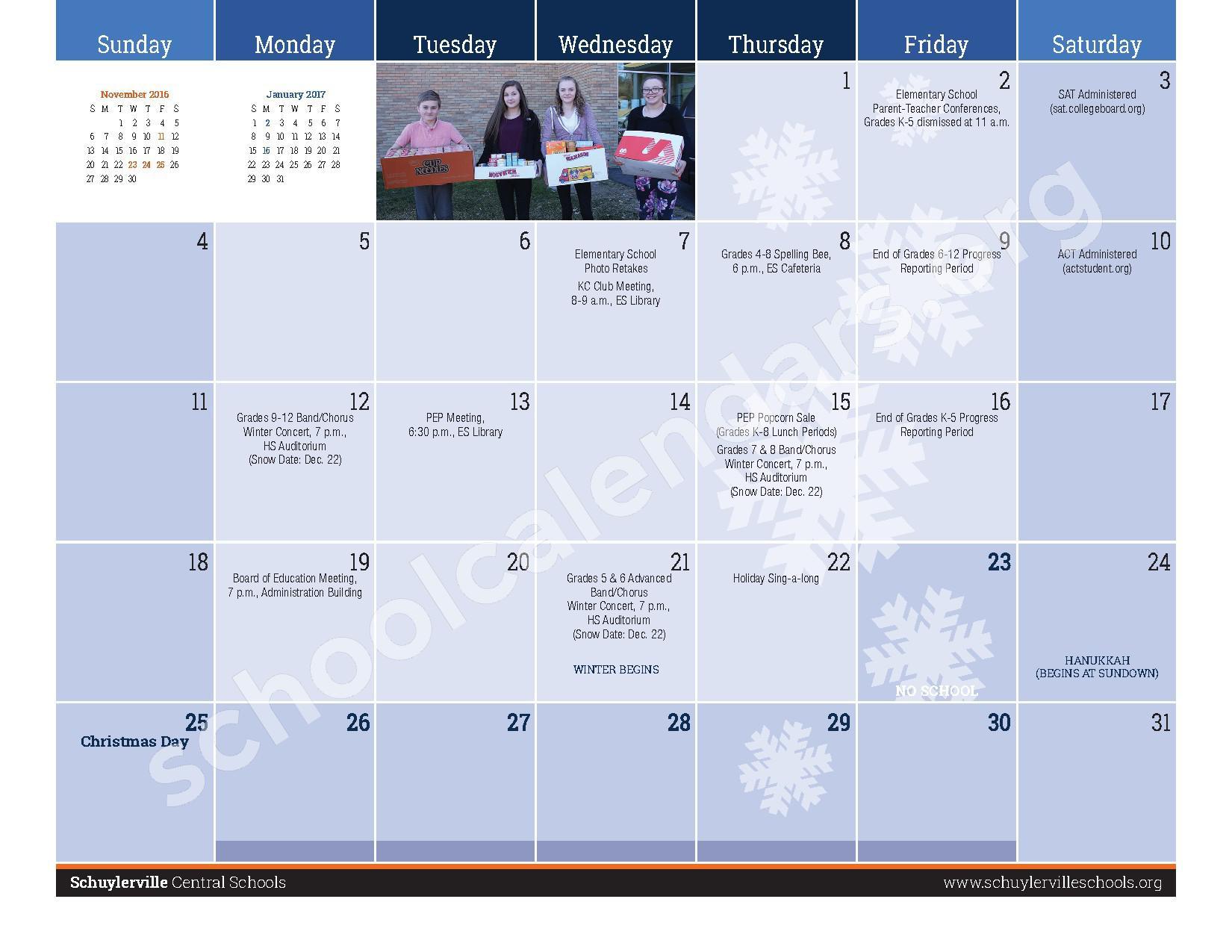 2016 - 2017  District Calendar – Schuylerville Central School District – page 9