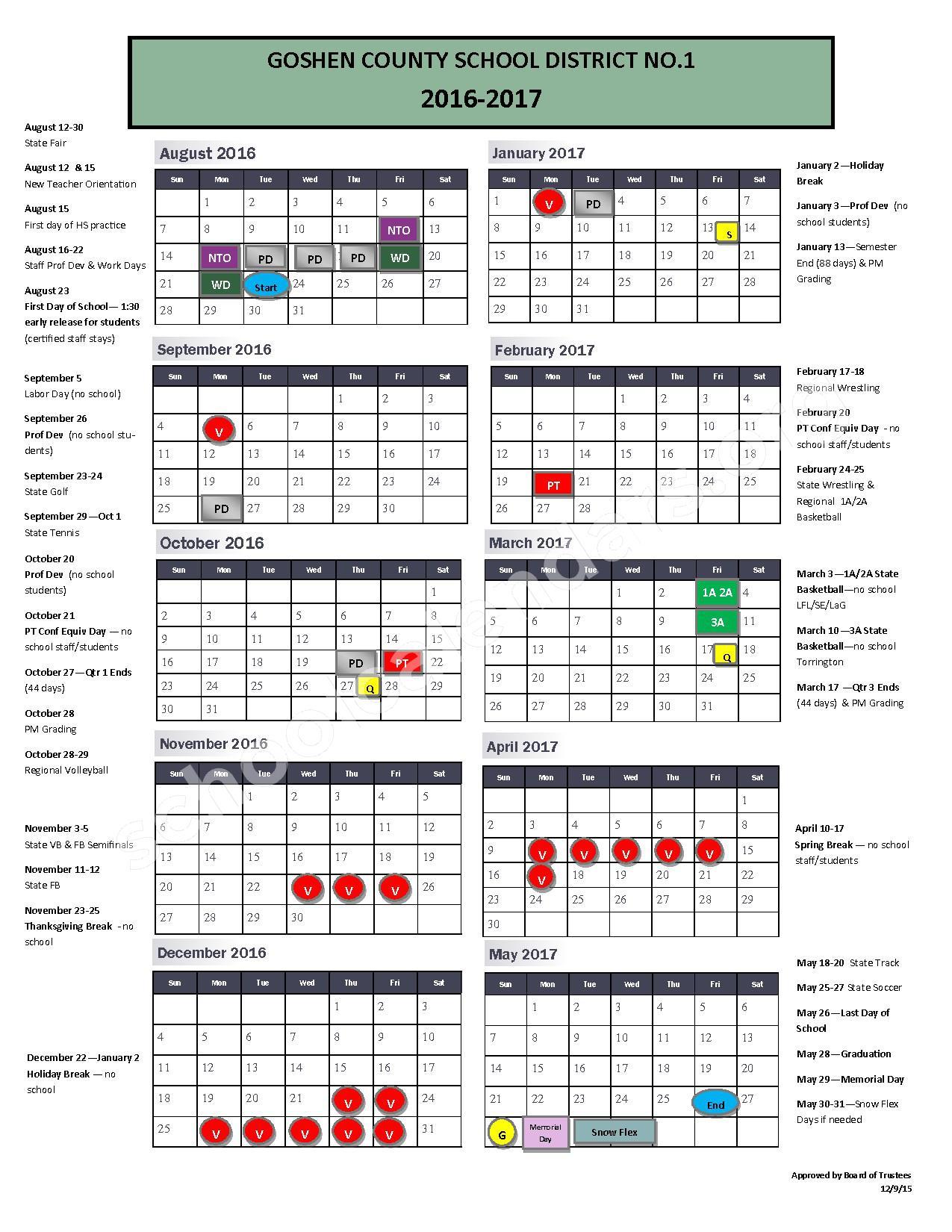 2016 - 2017 School Calendar – Lingle-Ft. Laramie Elementary School – page 1