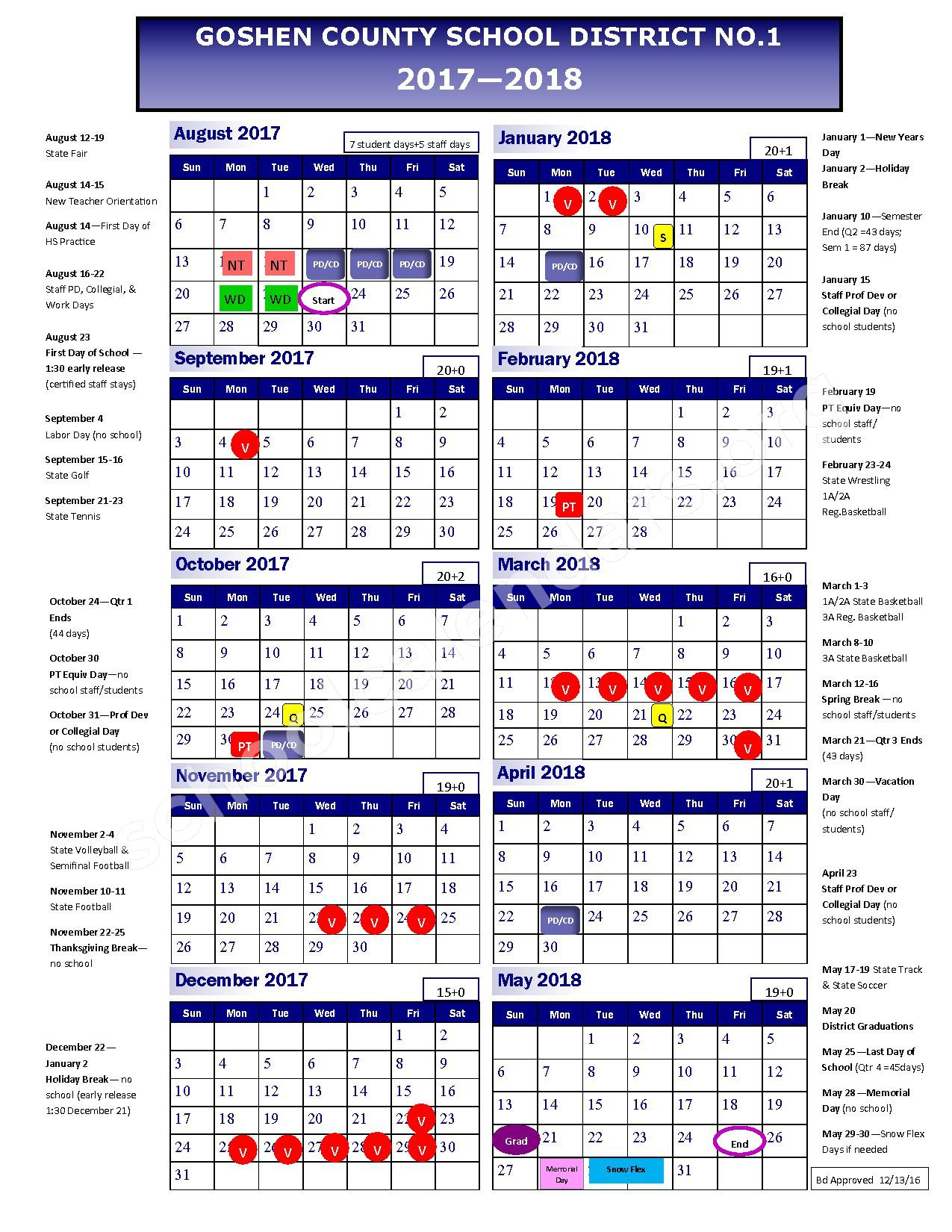 2017 - 2018 School Calendar – Goshen County School District #1 – page 1