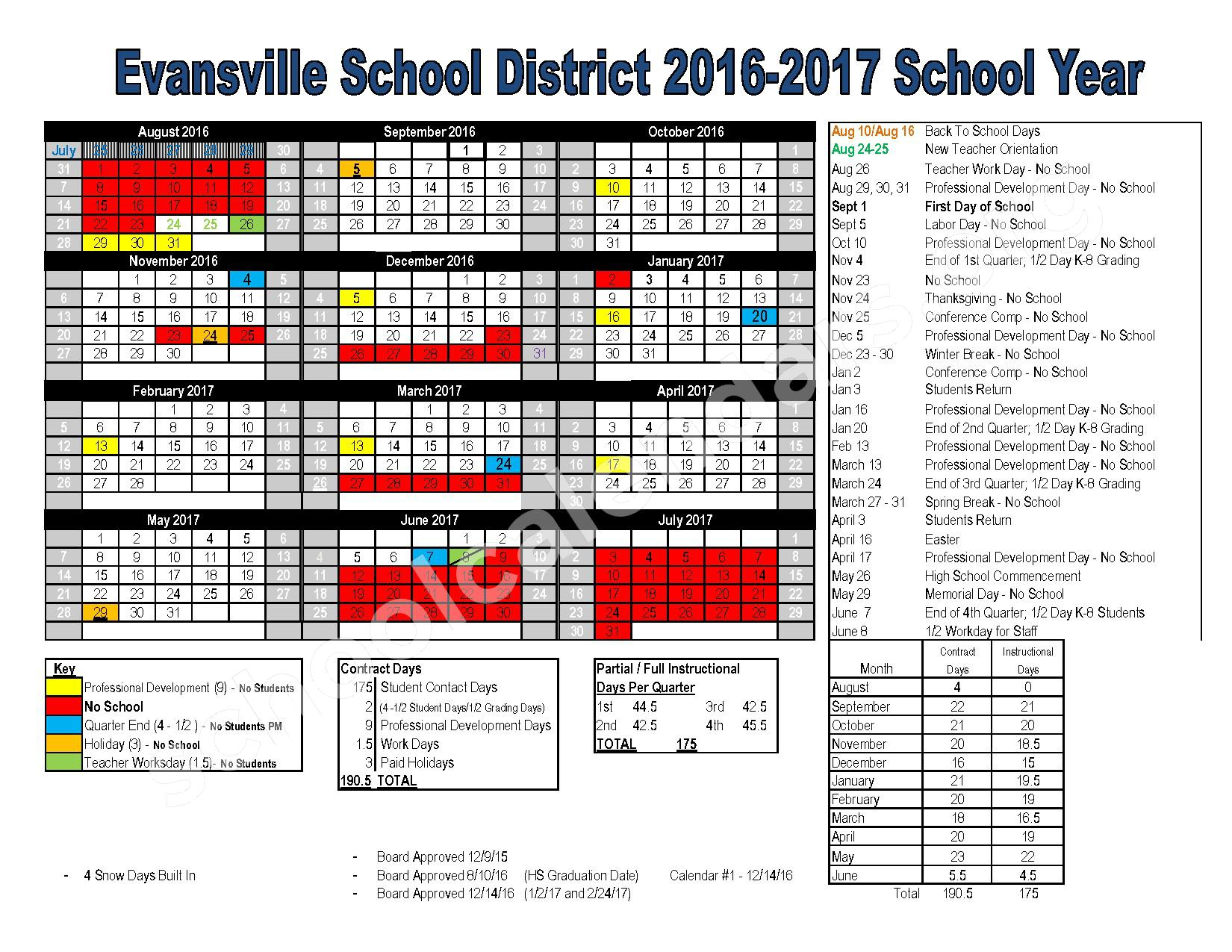 2016 - 2017 School Calendar – Evansville Community School District – page 1