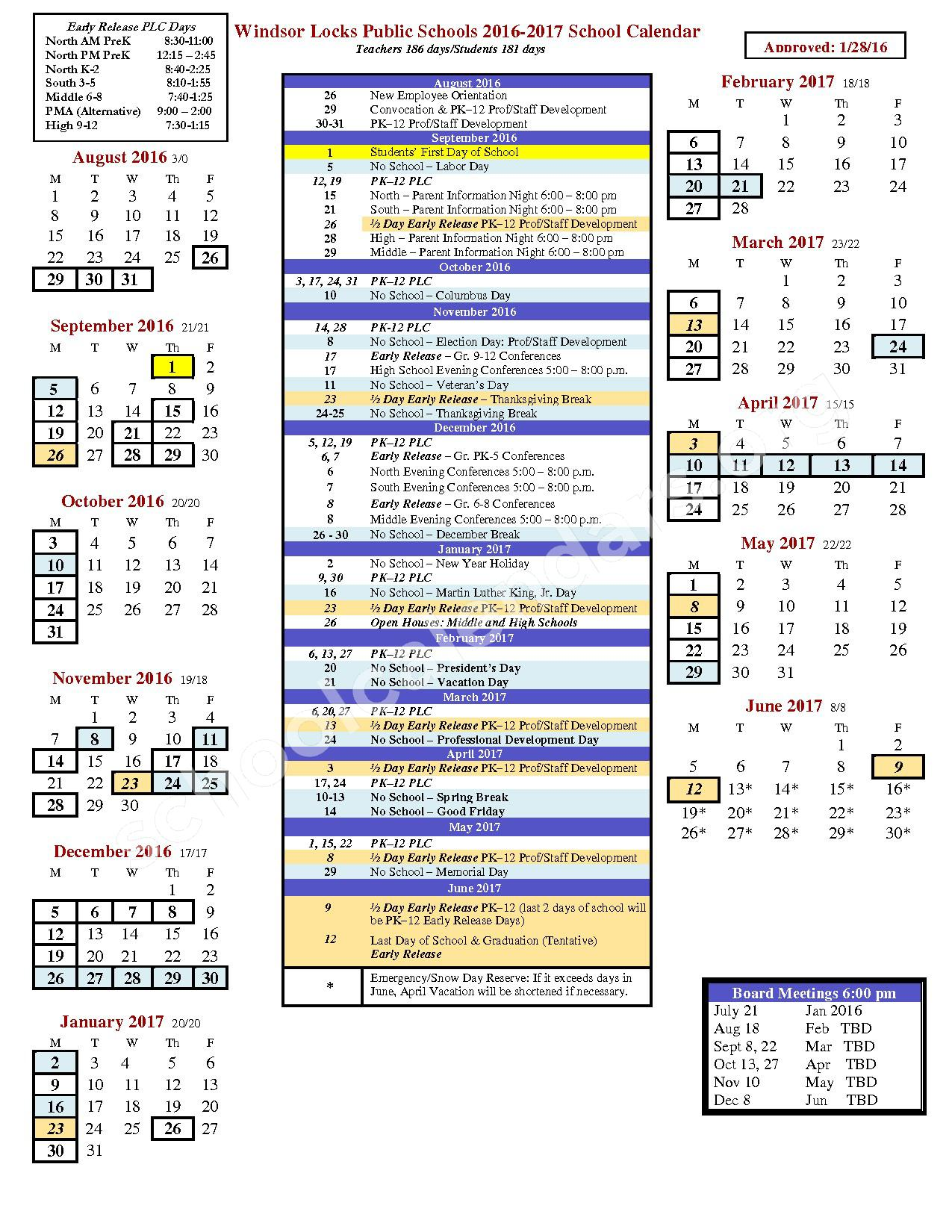 2016 - 2017 School Calendar – North Street School – page 1