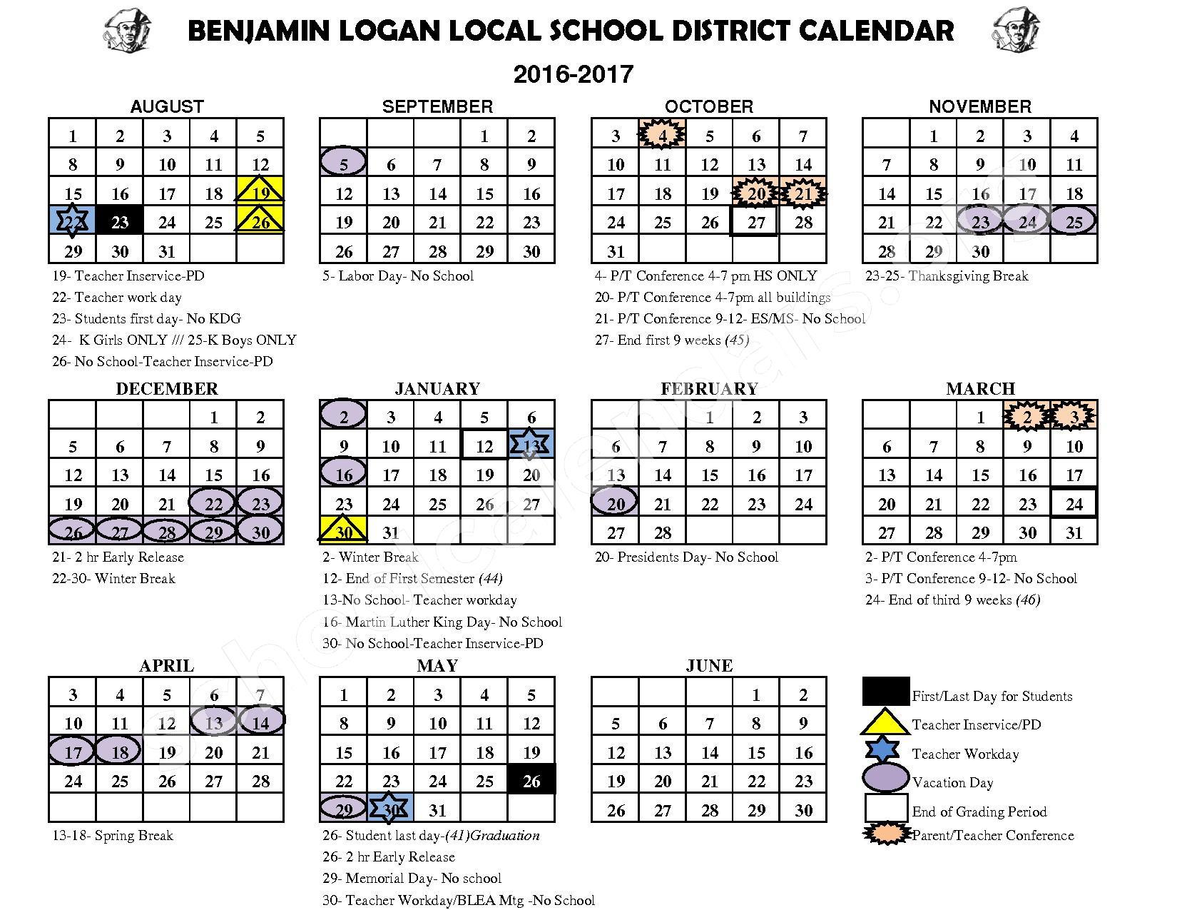 2016 - 2017 District Calendar – Benjamin Logan Local – page 1