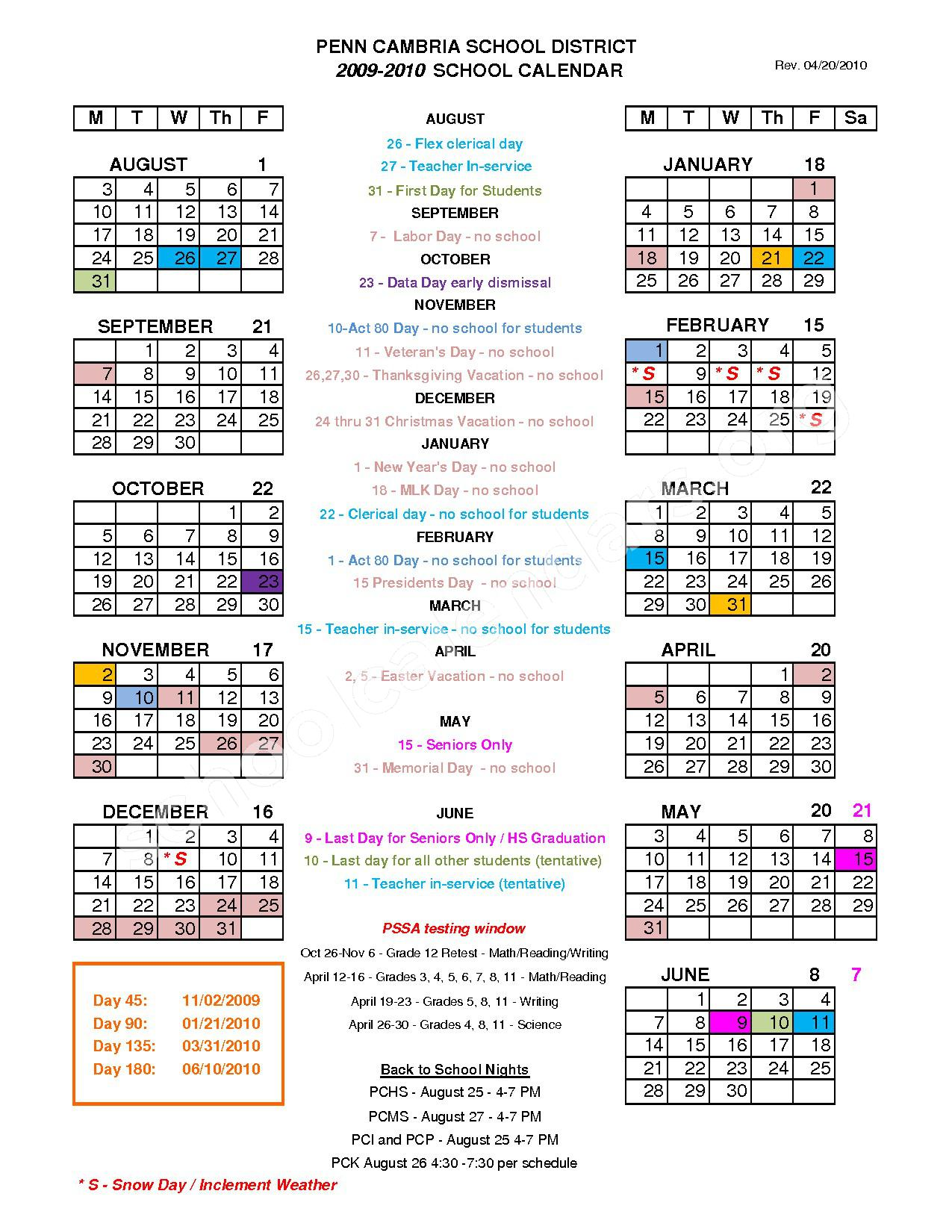 2017 - 2018 District Calendar – Penn Cambria Primary School – page 1