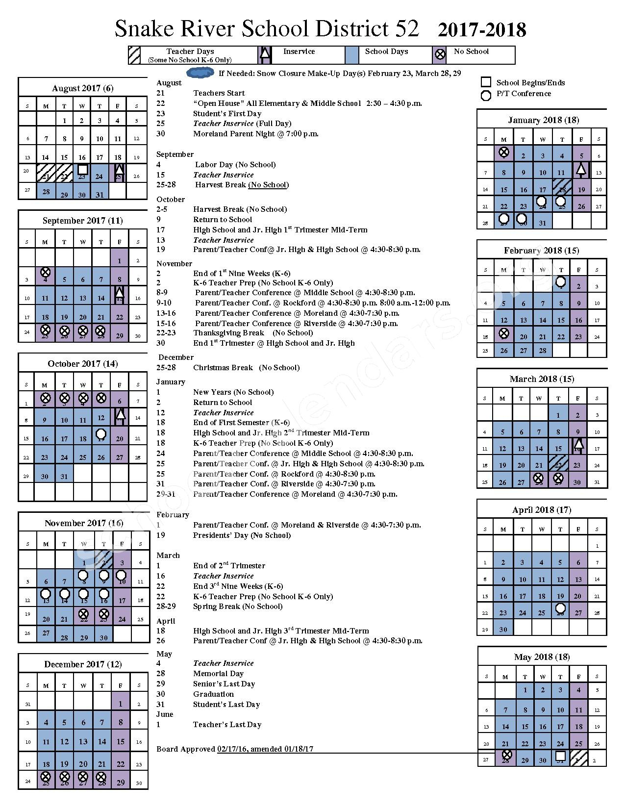 2017 - 2018 District Calendar – Snake River School District 52 – page 1