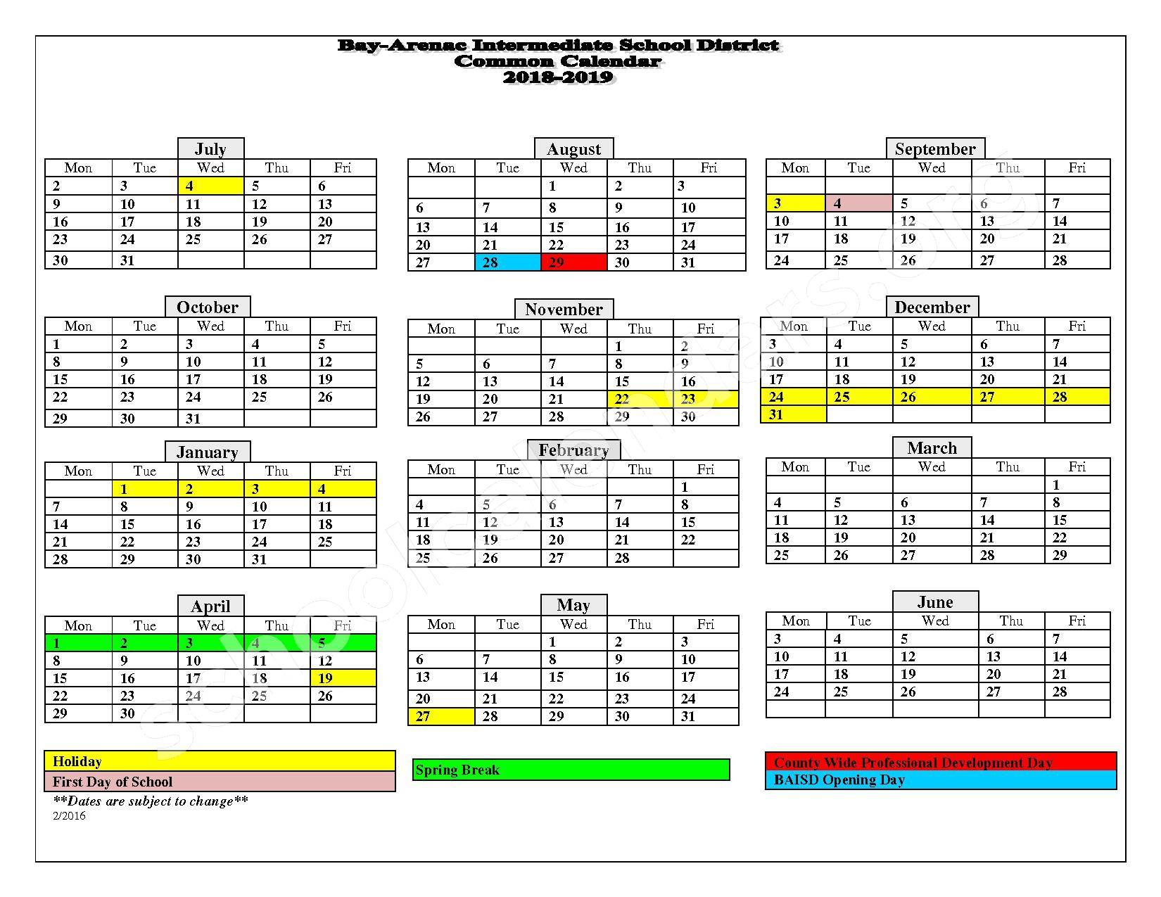 2018 - 2019 School Calendar – Standish-Sterling Central High School – page 1
