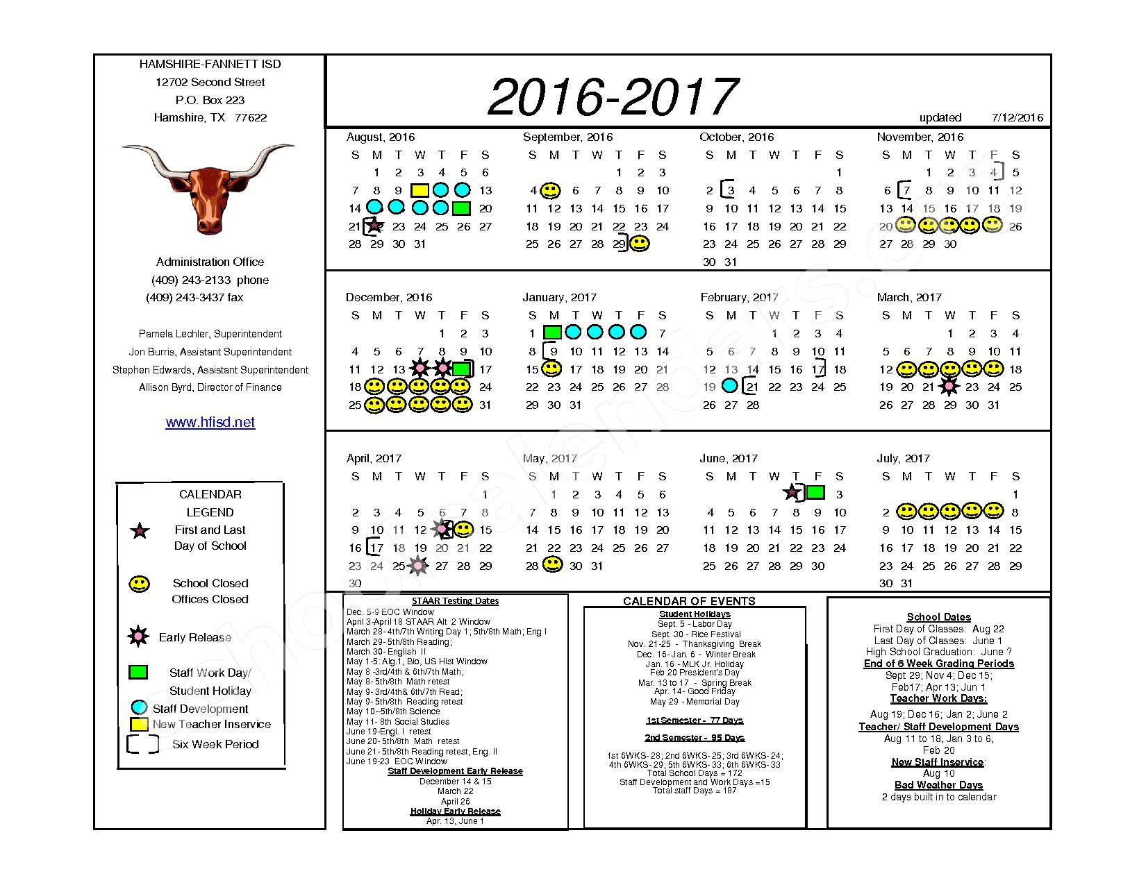 2016 - 2017 District Calendar – Hamshire-Fannett Intermediate – page 1