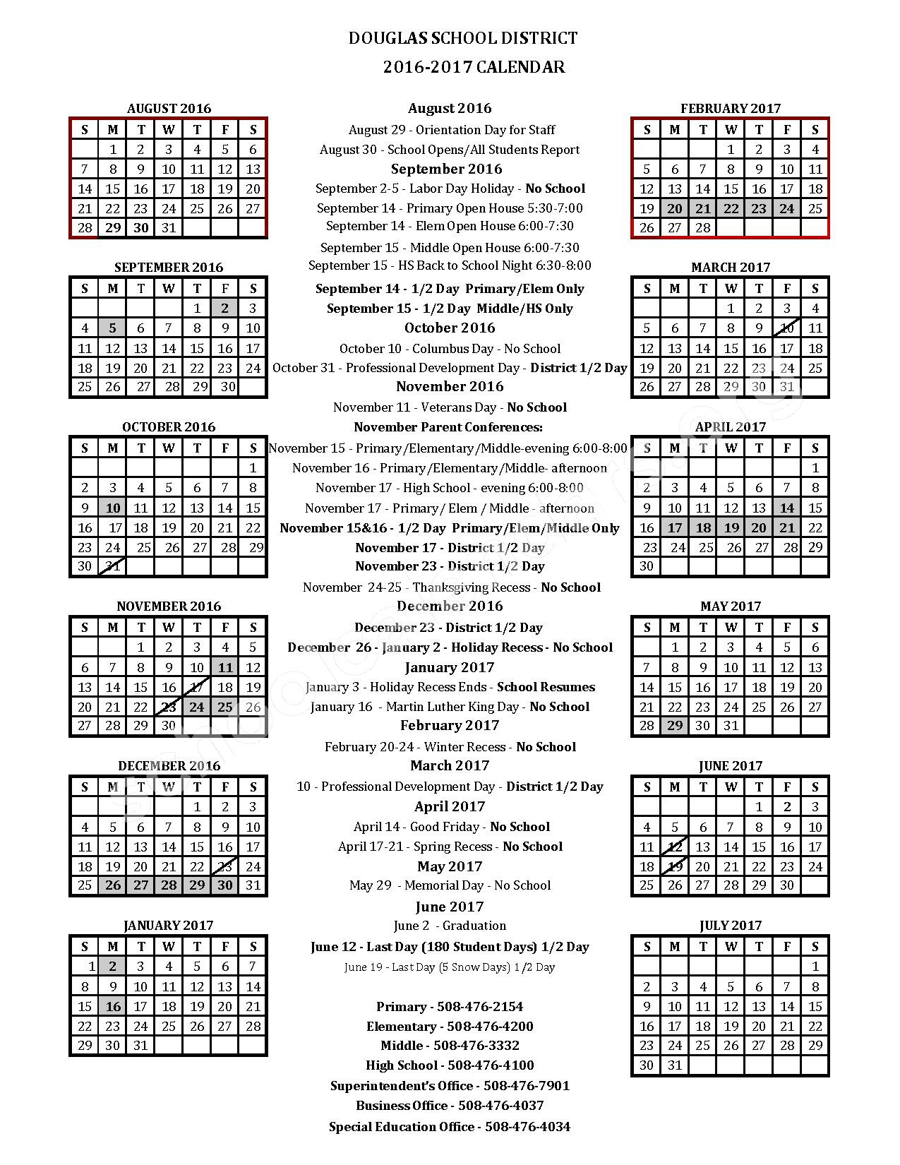 2016 - 2017 Douglas School District Calendar – Douglas Public School District – page 1