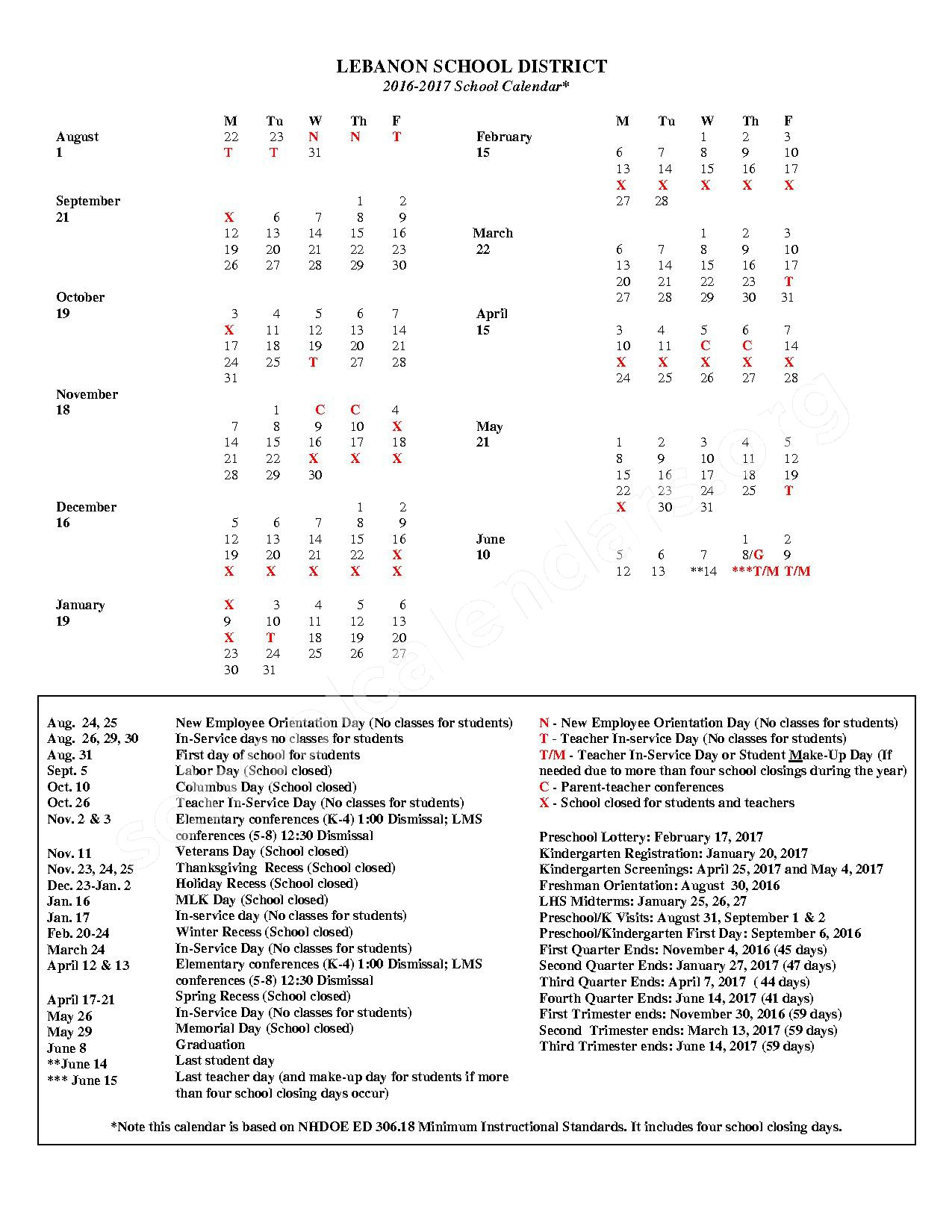 2016 - 2017 District Calendar – SAU 88 - Lebanon School District – page 1