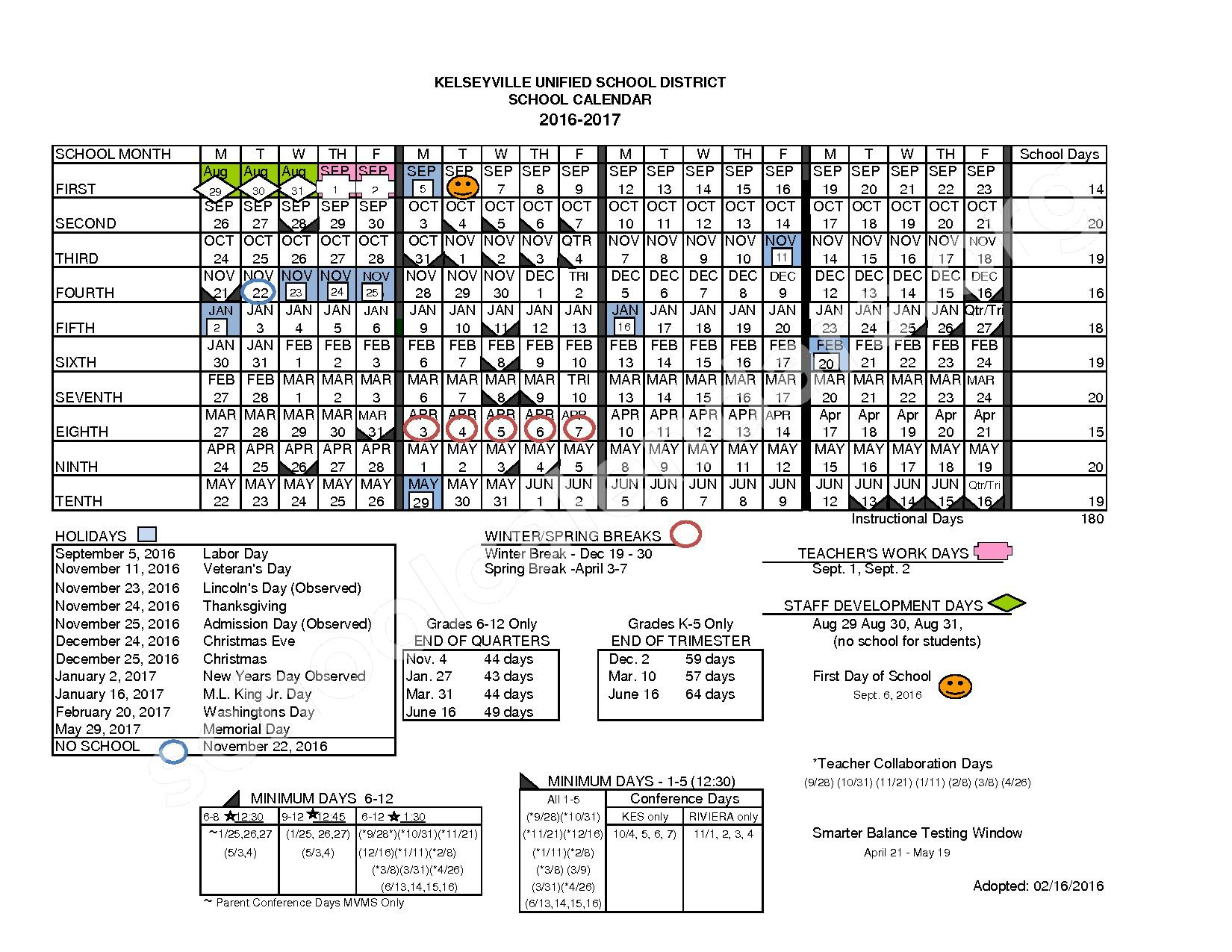 2016 - 2017 School Calendar – Kelseyville Unified School District – page 1