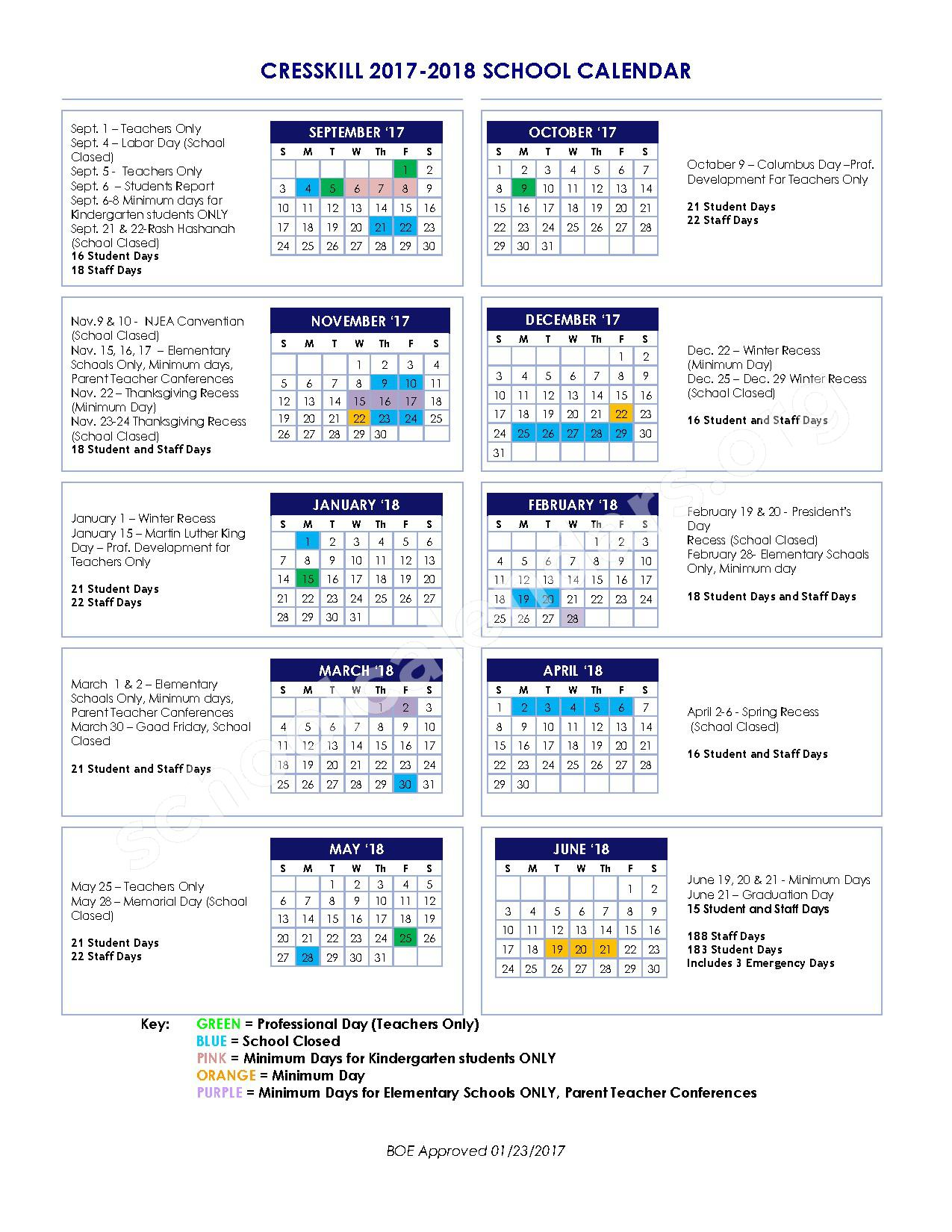 2017 - 2018 District Calendar – Cresskill Public Schools – page 1