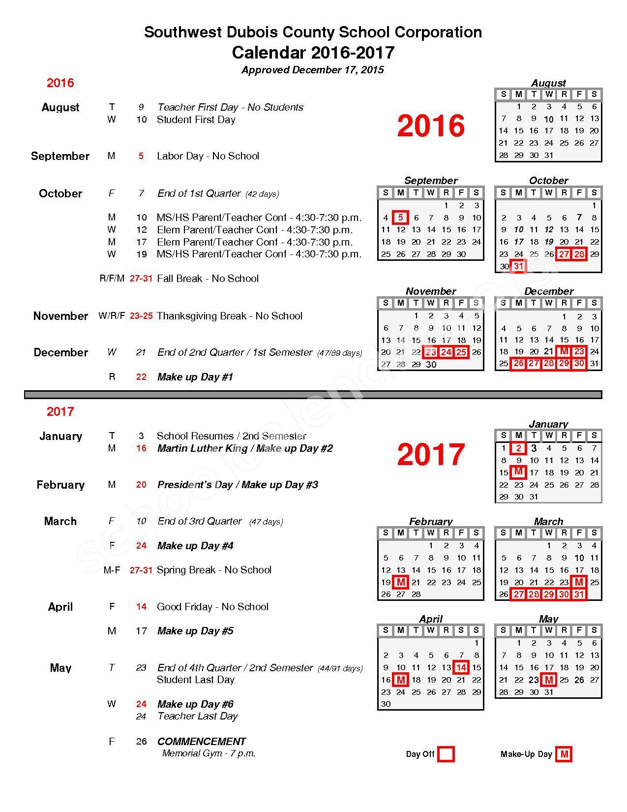 2016 - 2017 Calendar – Southwest Dubois County School Corporation – page 1