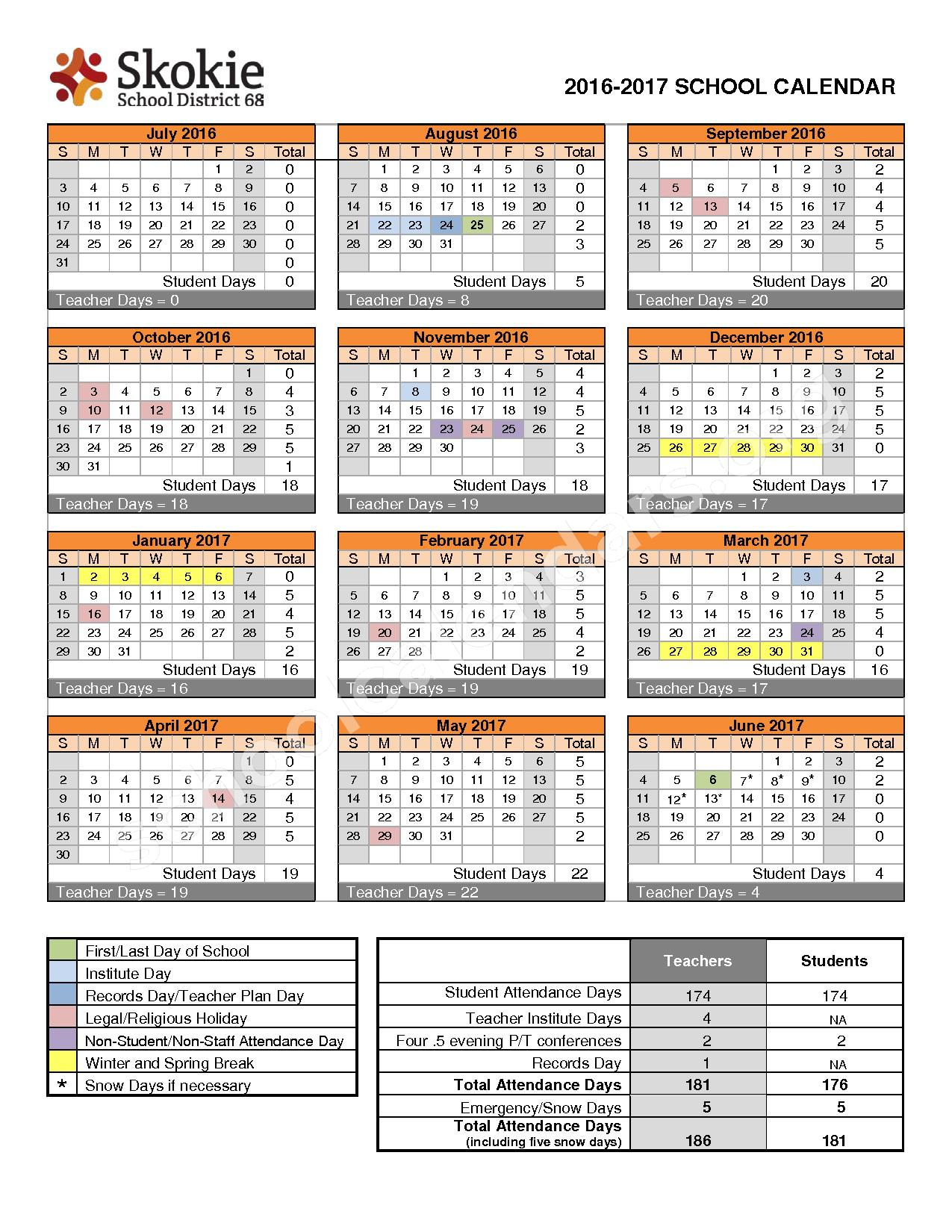2016 - 2017 District Calendar – Highland Elementary School – page 1