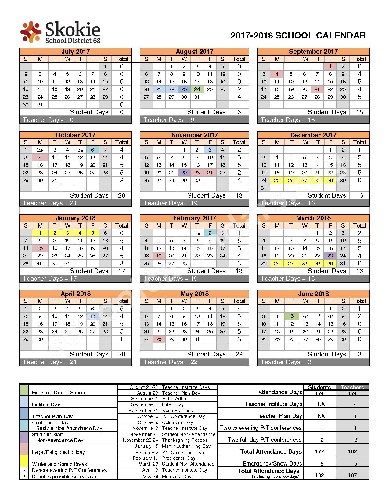 2017 - 2018 District Calendar – Skokie School District 68 – page 1